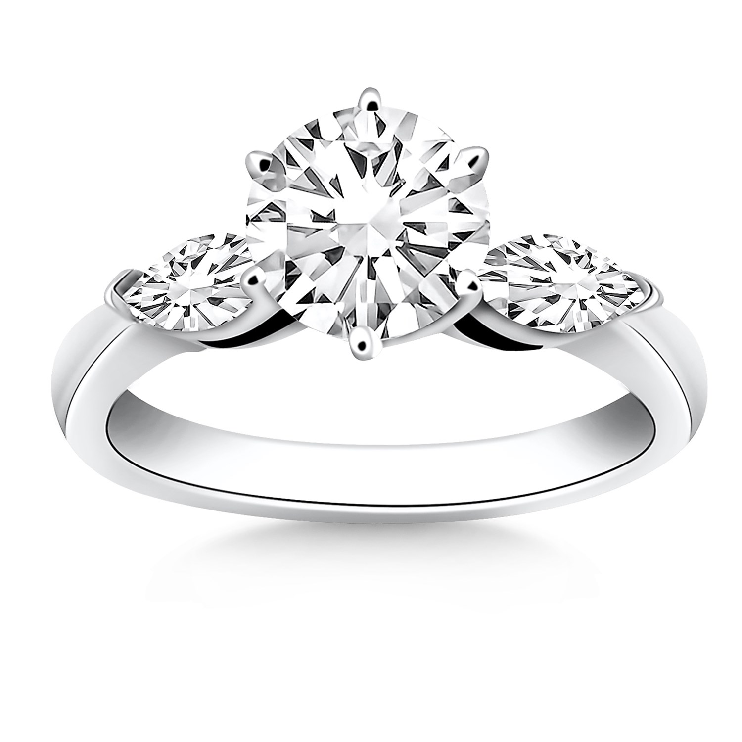 Stuller Three Stone Side Stones: Three Stone Engagement Ring Mounting With Marquise Side