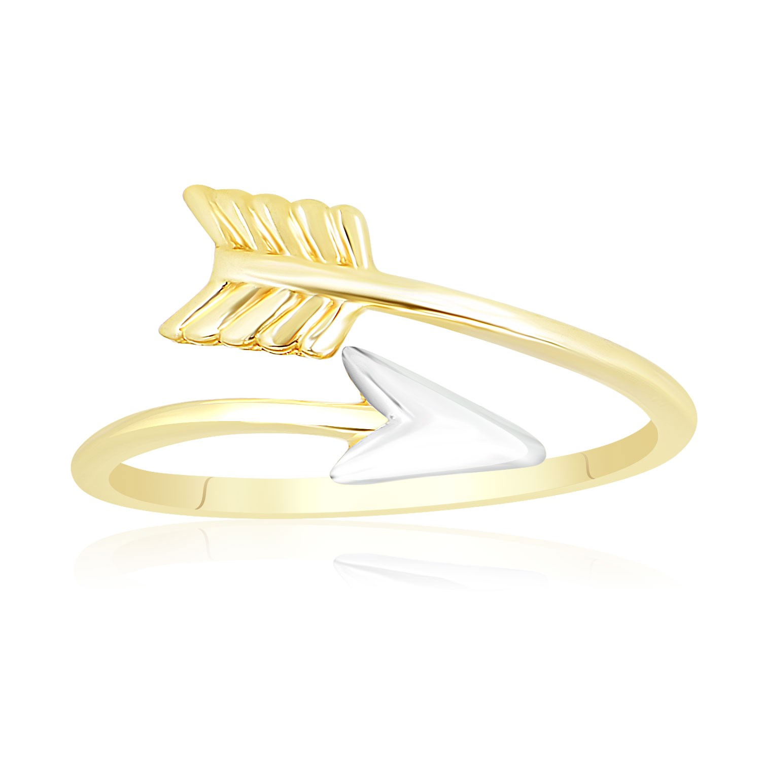 Open ring with arrow design in 14k two tone gold richard for Jewelry storm arrow ring