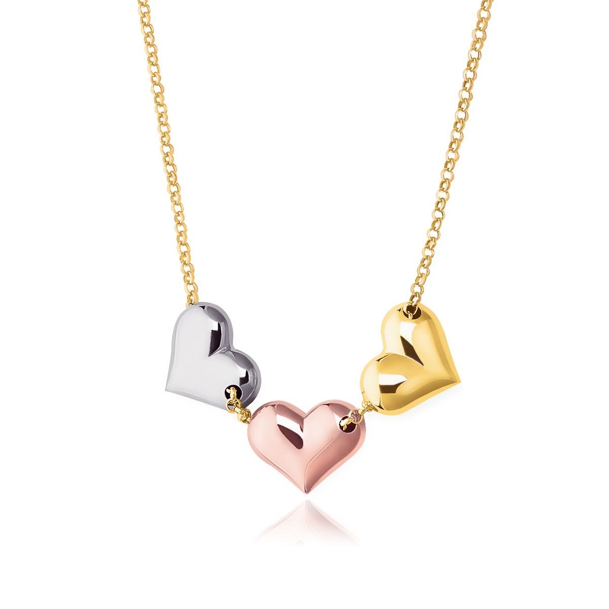 triple heart necklace in 14k tri color gold richard. Black Bedroom Furniture Sets. Home Design Ideas