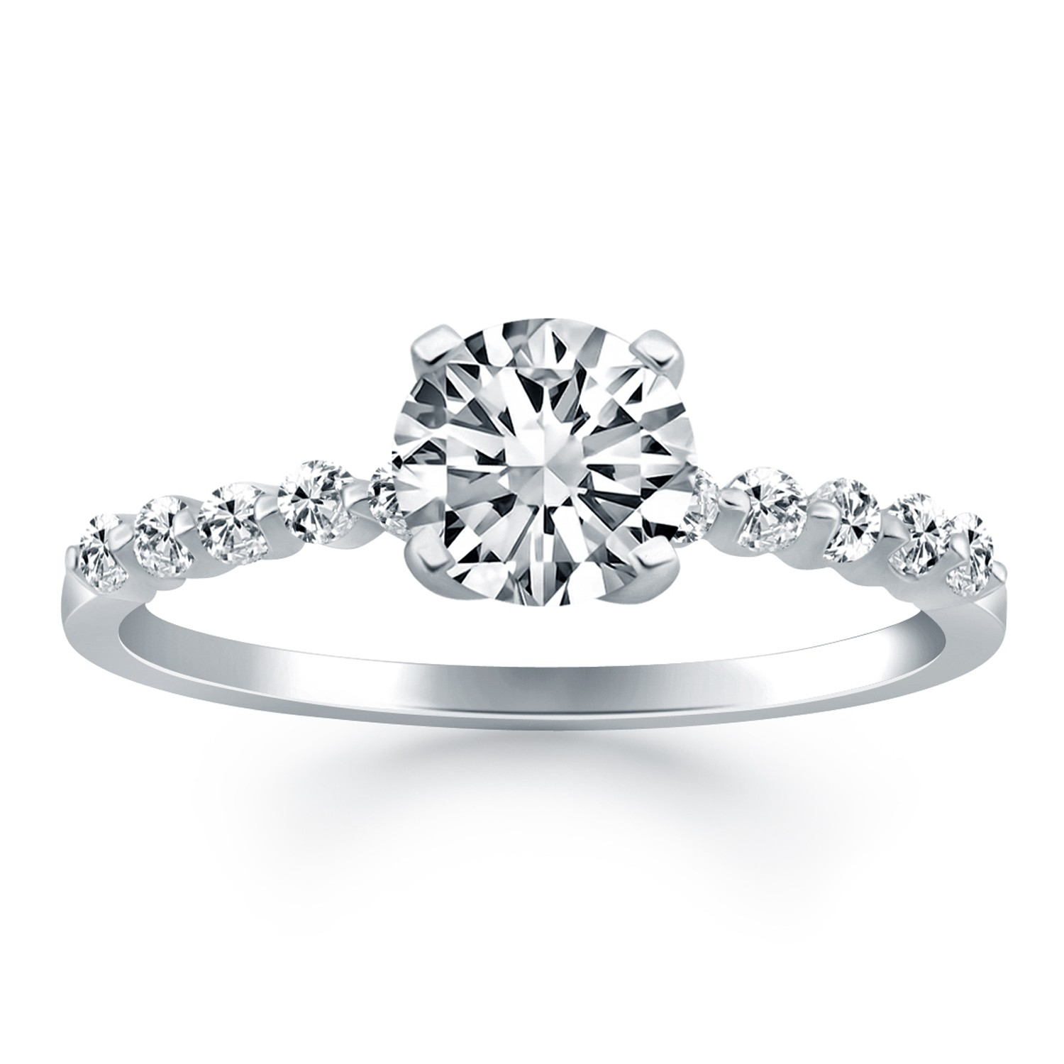 Diamond Engagement Ring Mounting with d Prong Diamond Accents
