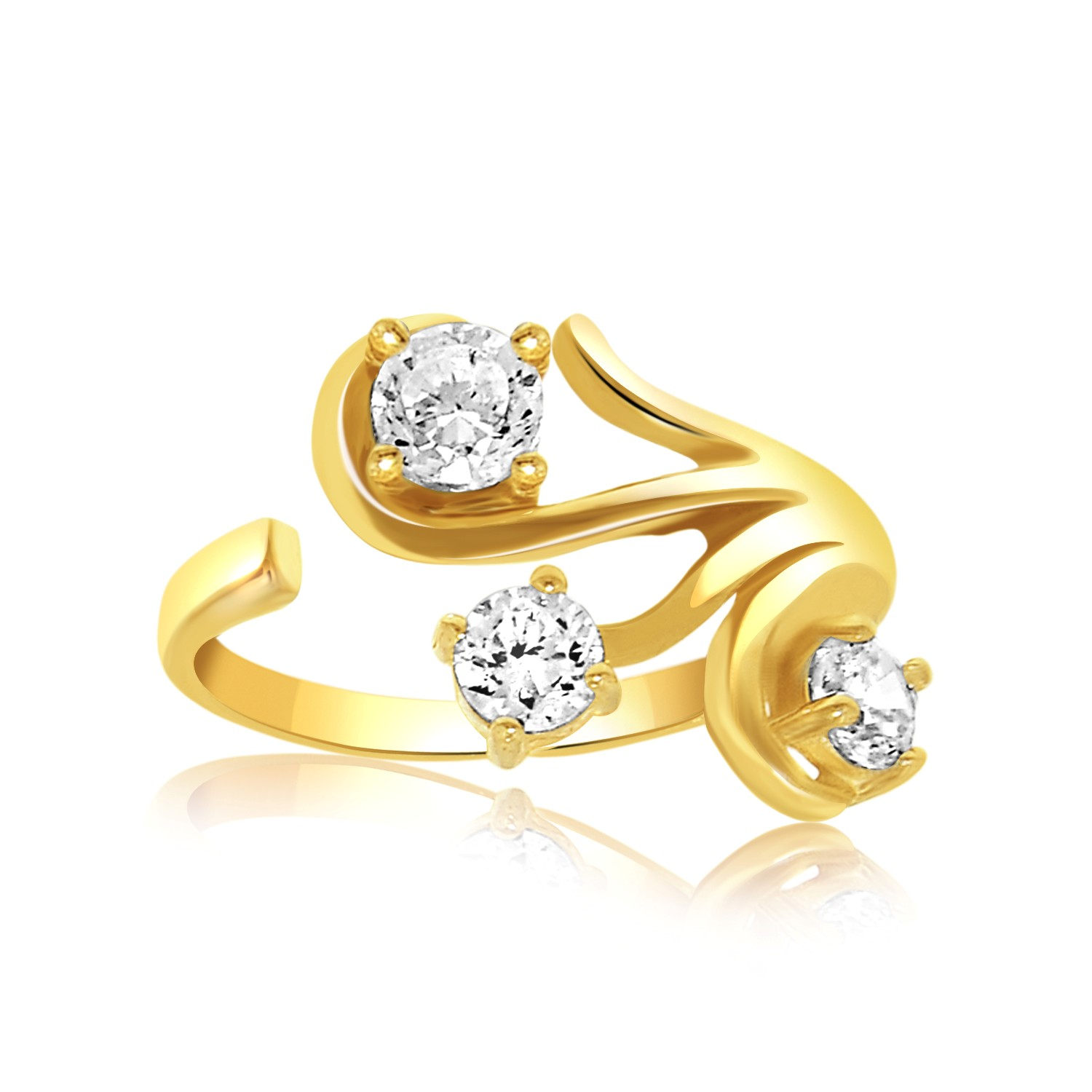 fancy toe ring with cubic zirconia accents in 14k