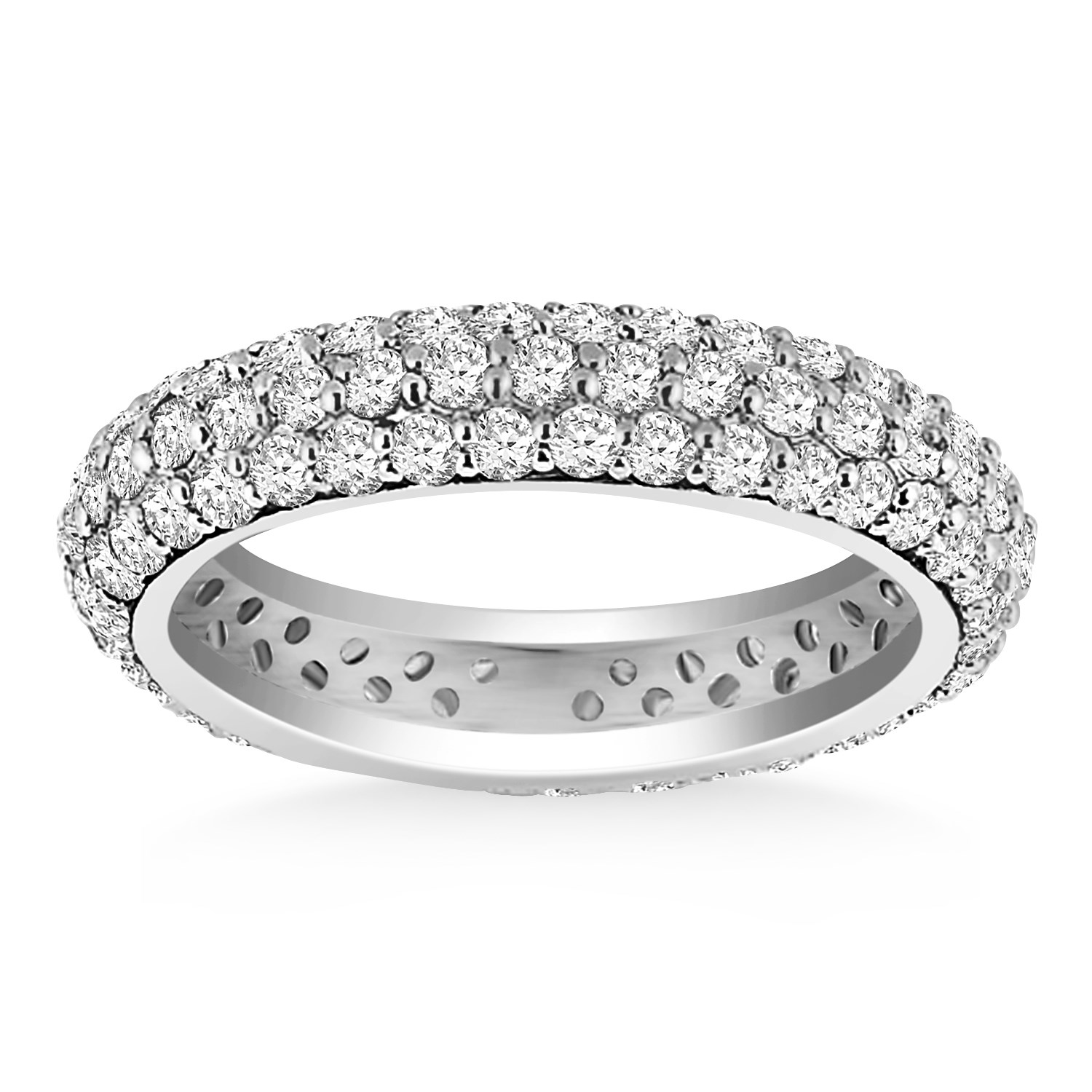 domed pave set round diamond eternity ring in 14k white. Black Bedroom Furniture Sets. Home Design Ideas