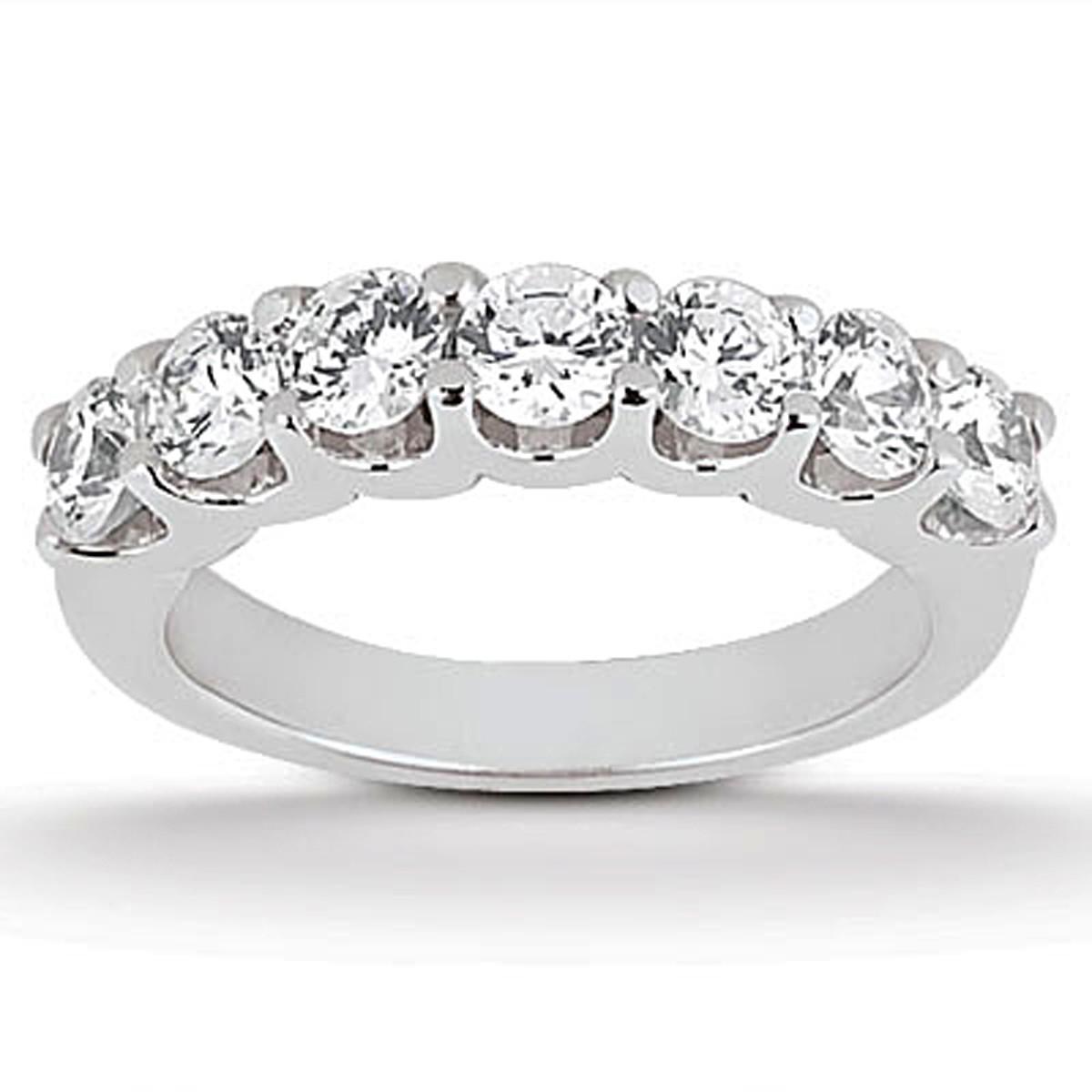 Diamond shared u prong setting wedding ring band 14k white for Jewelry wedding rings