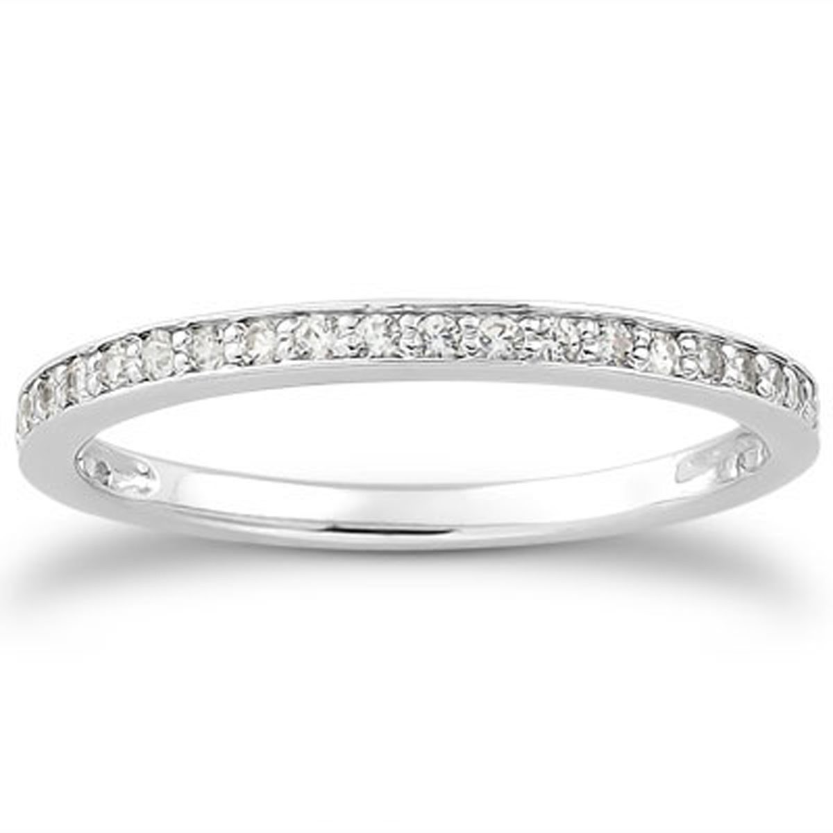 Diamond Micro-pave Wedding Ring Band In 14K White Gold