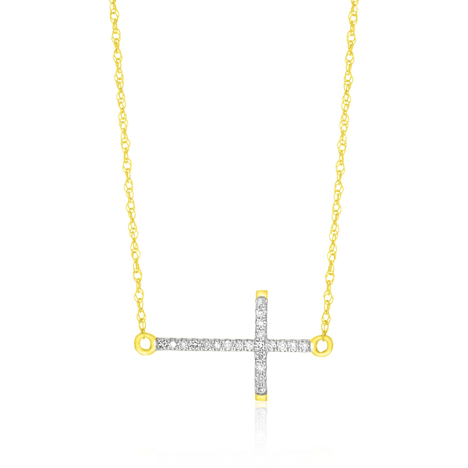 horizontal accented cross necklace in 14k yellow