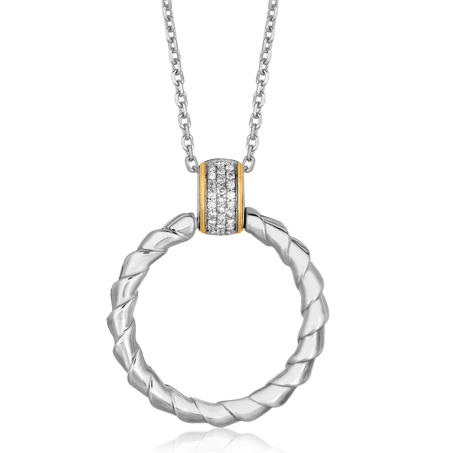 Spiral Ribbon Design Diamond Accented Ring Pendant In K Yellow Gold And Sterling Silver Satu