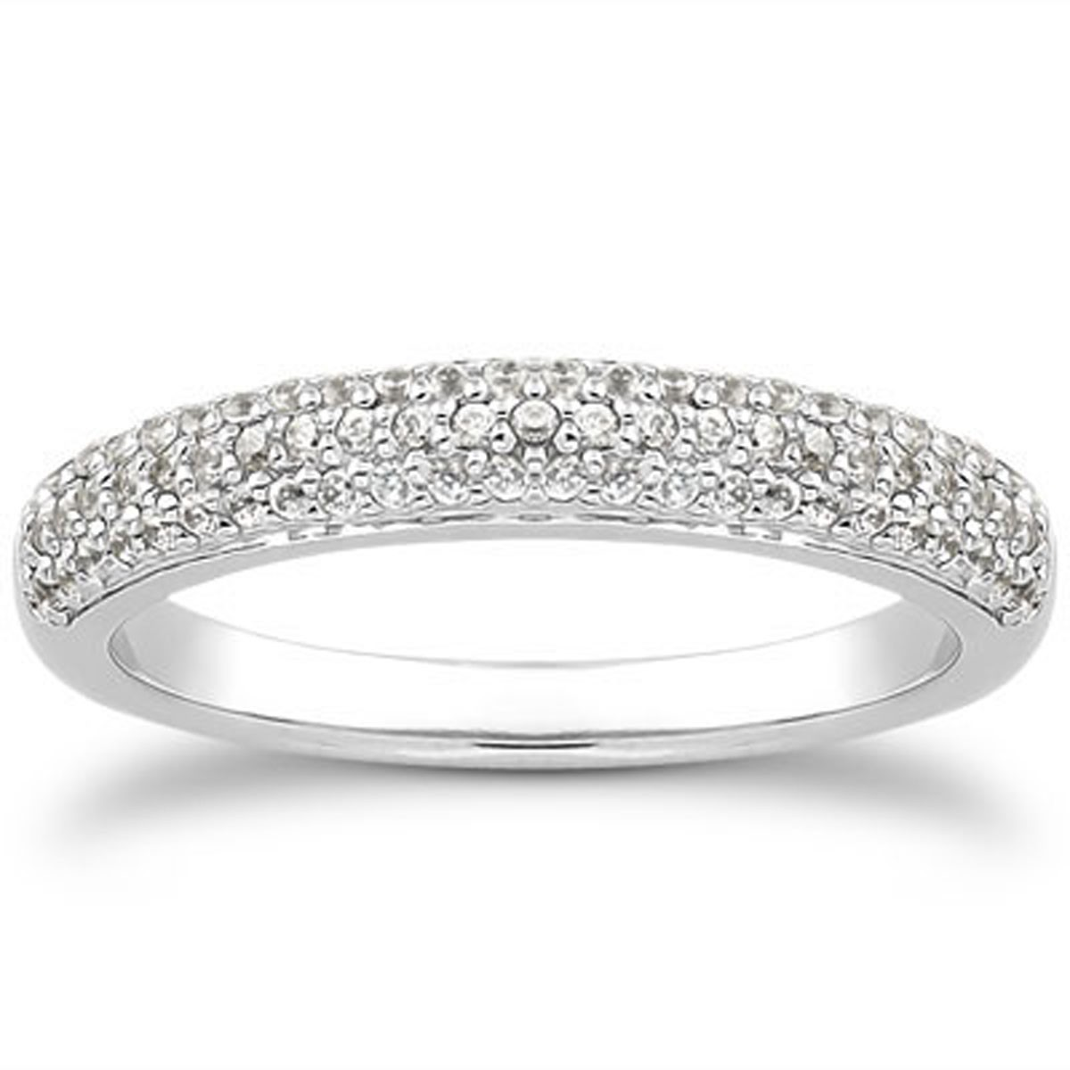 Triple Row Micro Pave Diamond Wedding Ring Band In 14k