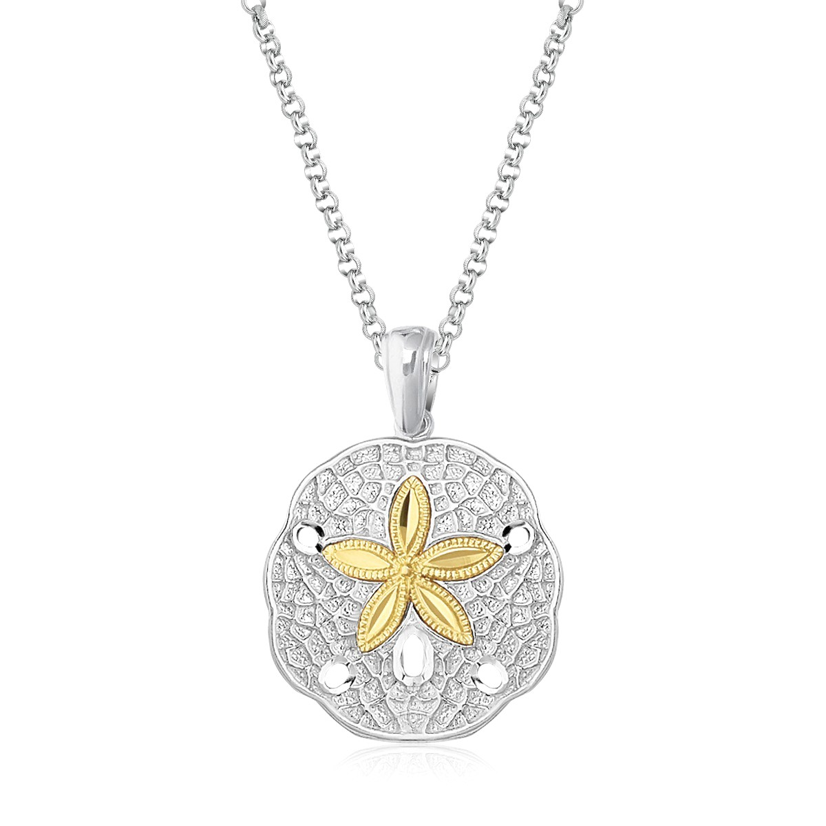 Sand dollar pendant in sterling silver and 14k yellow gold sand dollar pendant in sterling silver and 14k yellow gold richard cannon jewelry aloadofball Images