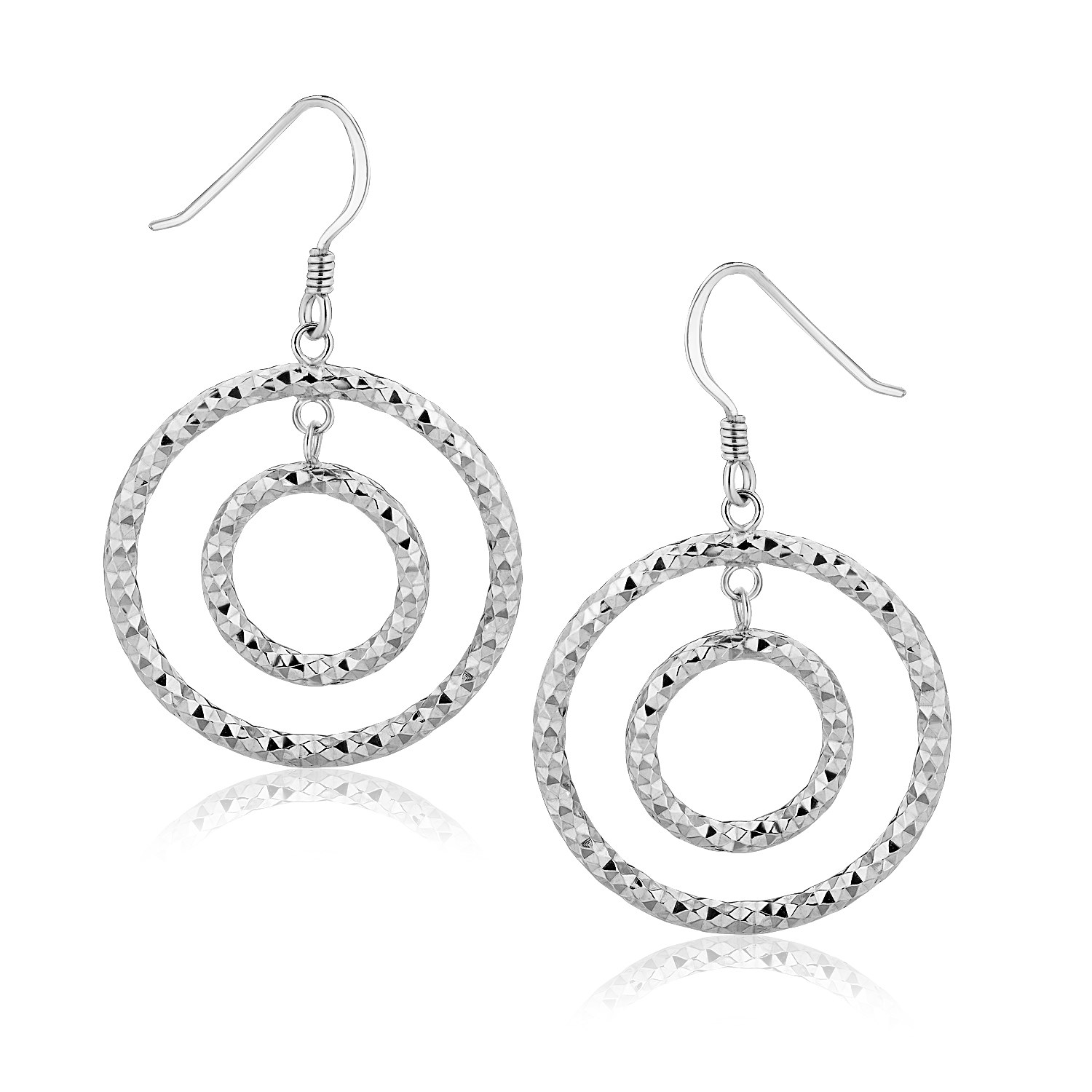 Concentric Circle Earrings: Textured Concentric Circle Style Drop Earrings In Sterling