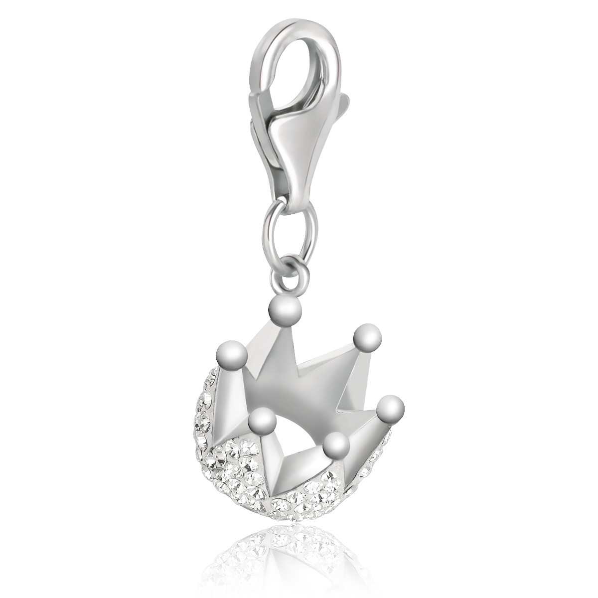 Crown Charm Bracelet: Crown Charm With White Crystal Accents In Sterling Silver