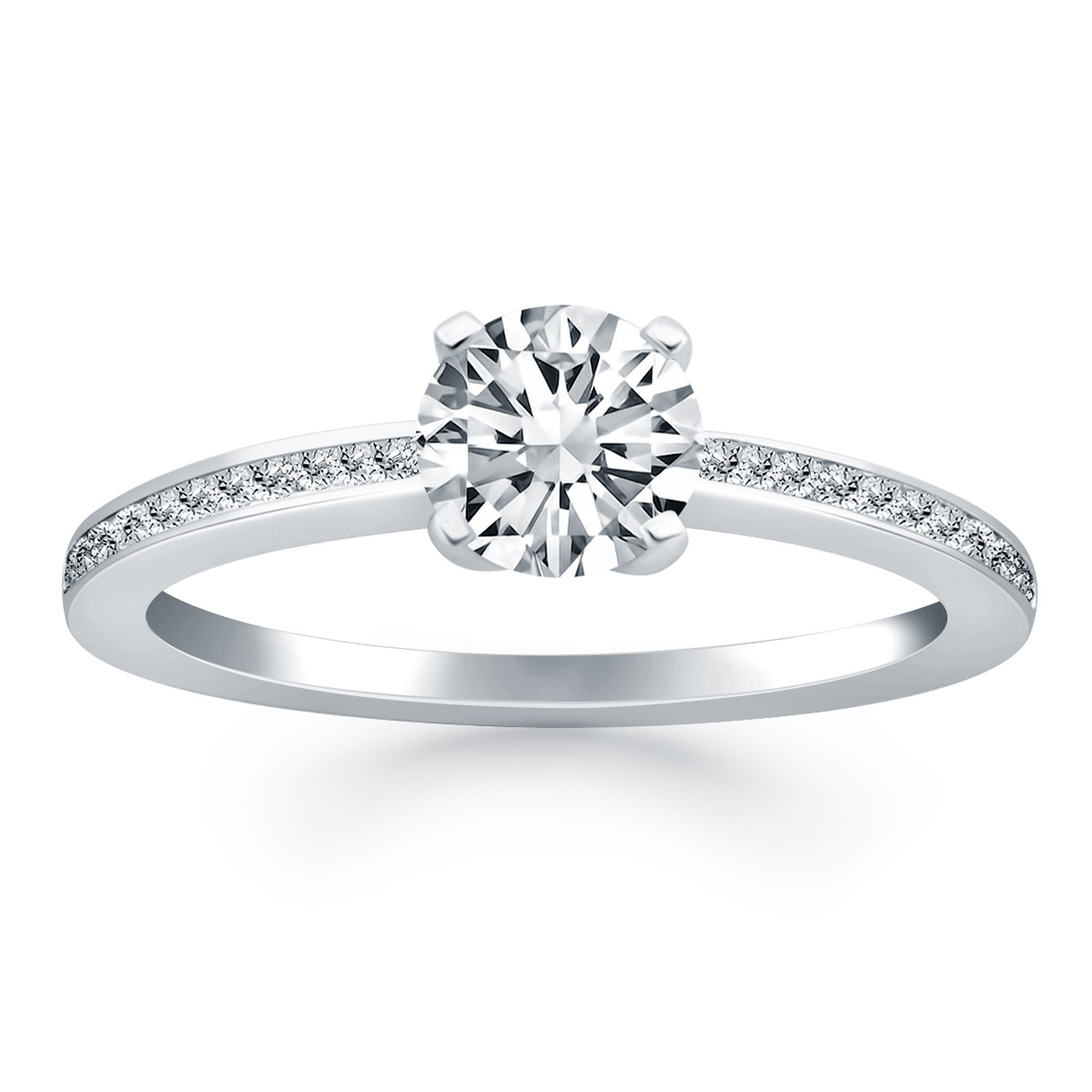 Pavé Bands: Classic Pave Diamond Band Engagement Ring Mounting In 14K
