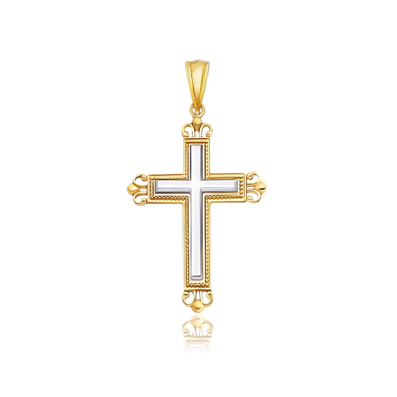fancy budded motif cross pendant in 14k two tone gold