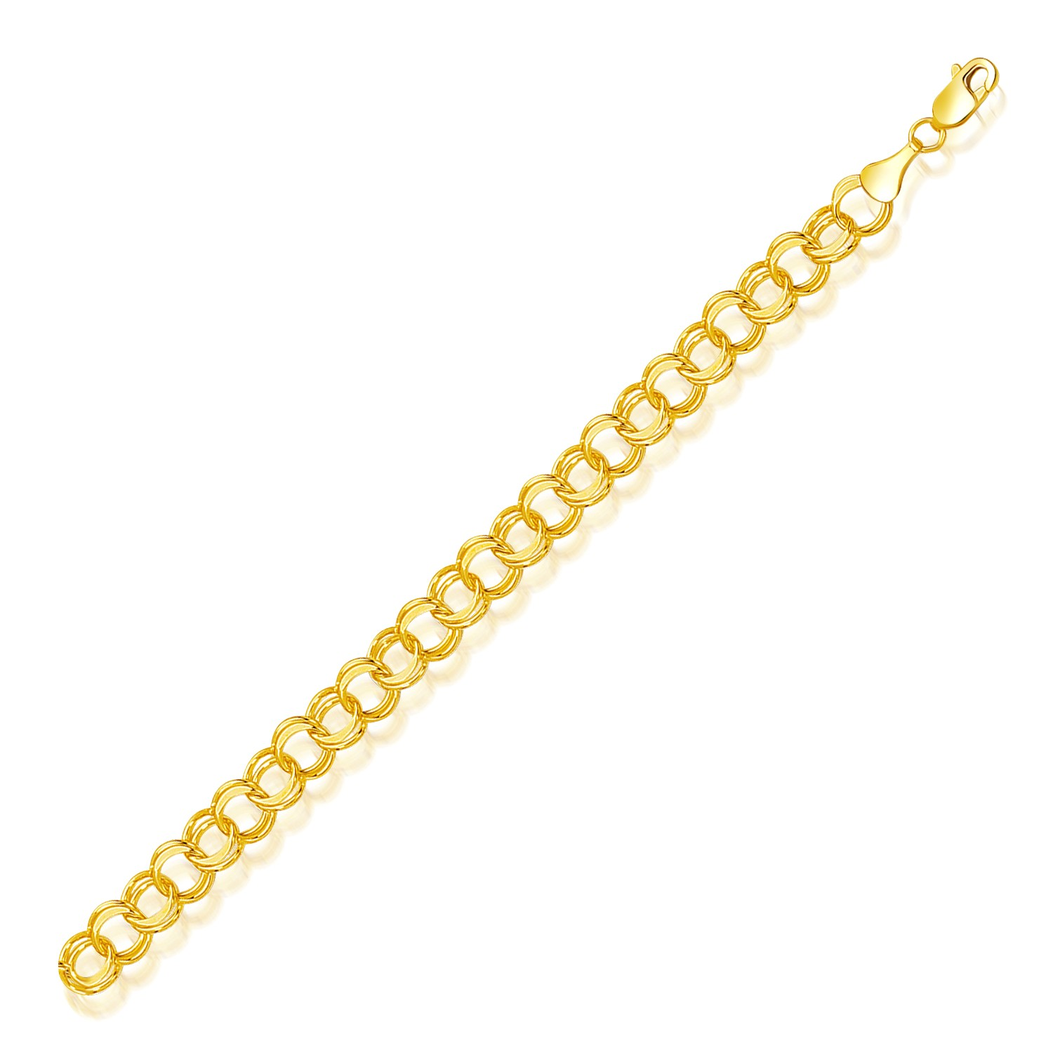 14k Yellow Gold Charm Bracelet: Double Link Solid Charm Bracelet In 14K Yellow Gold (8.0mm