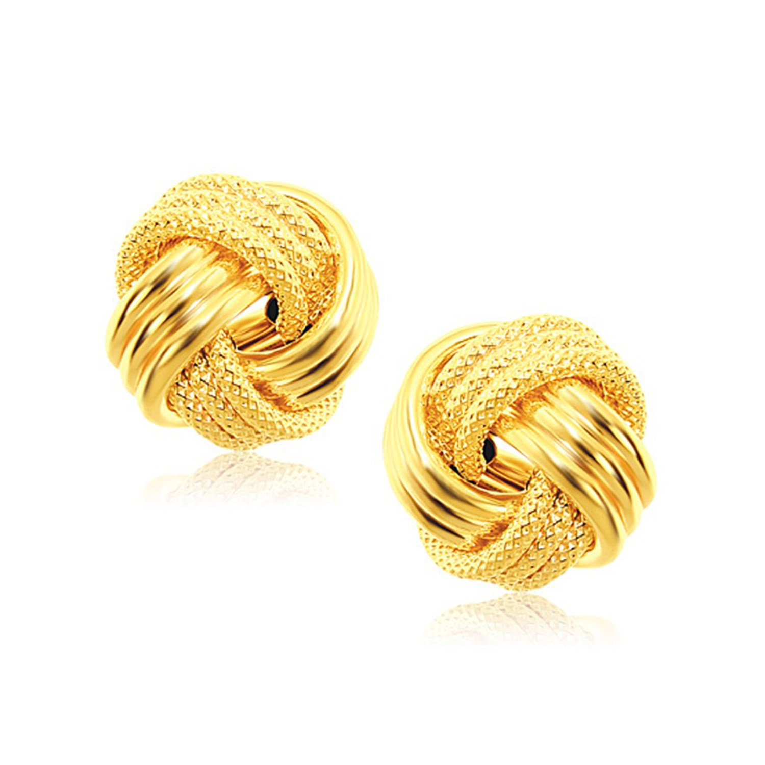 interweaved love knot stud earrings in 14k yellow gold. Black Bedroom Furniture Sets. Home Design Ideas