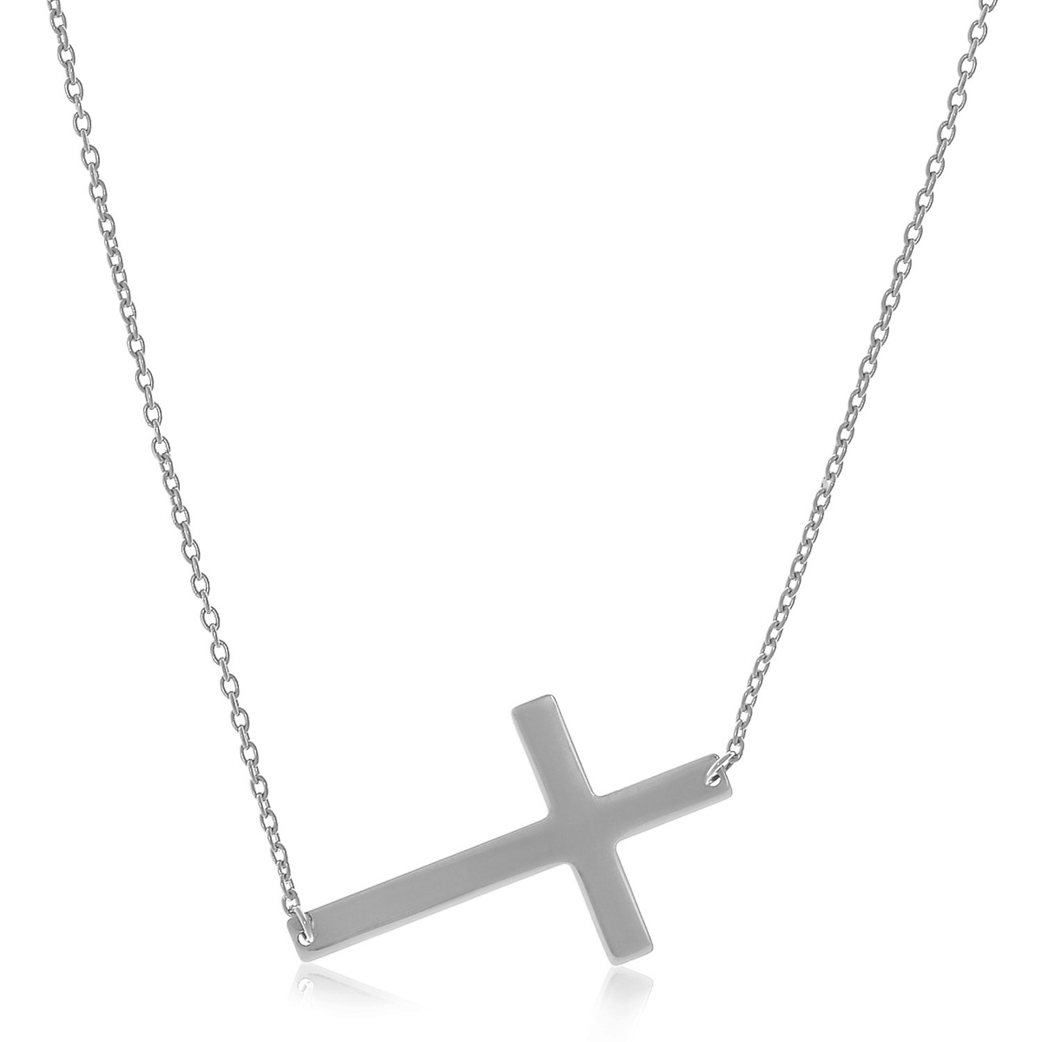 Flat Crucifix Necklace in 14K White Gold - Richard Cannon ...