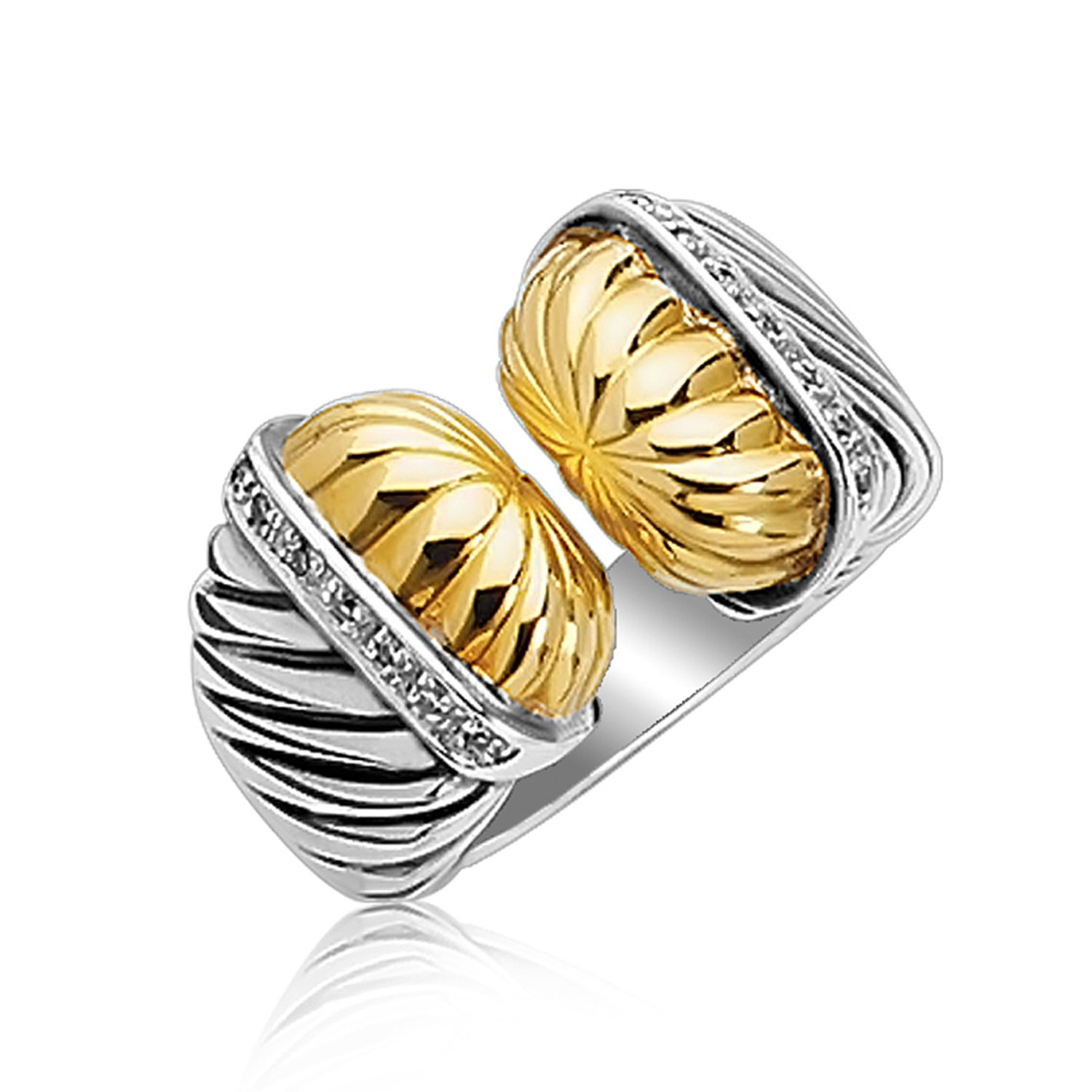 embellished open style cable inspired ring in 18k