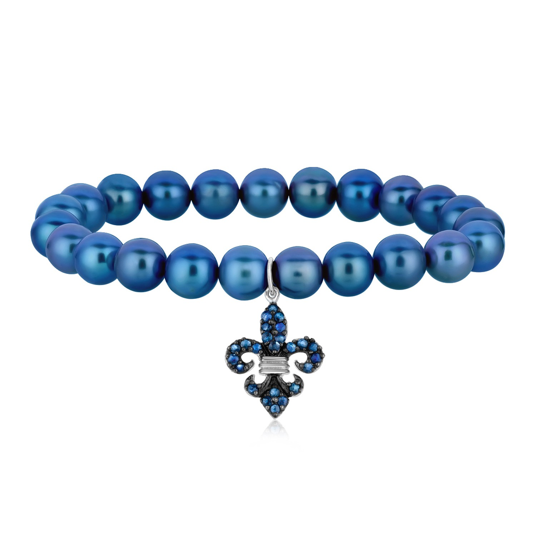 Fleur De Lis Charm Bracelet: Stretchable Pearl Bracelet With A Blue Sapphire Studded