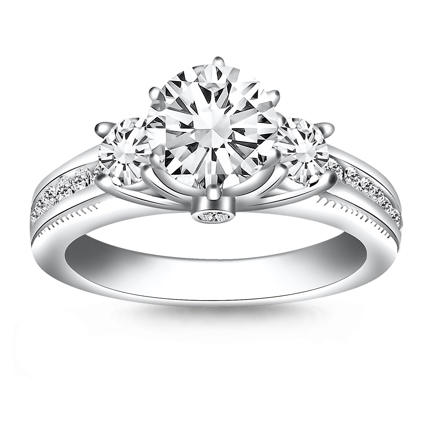 Multi Diamond Engagement Ring Mounting In 14K White Gold