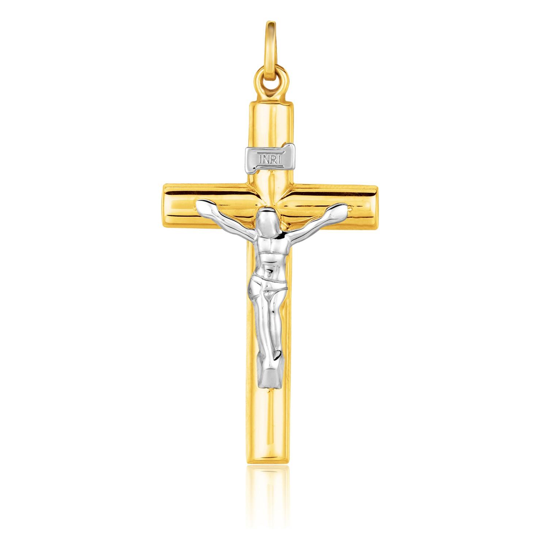 two tone cross pendant in 14k gold richard cannon jewelry