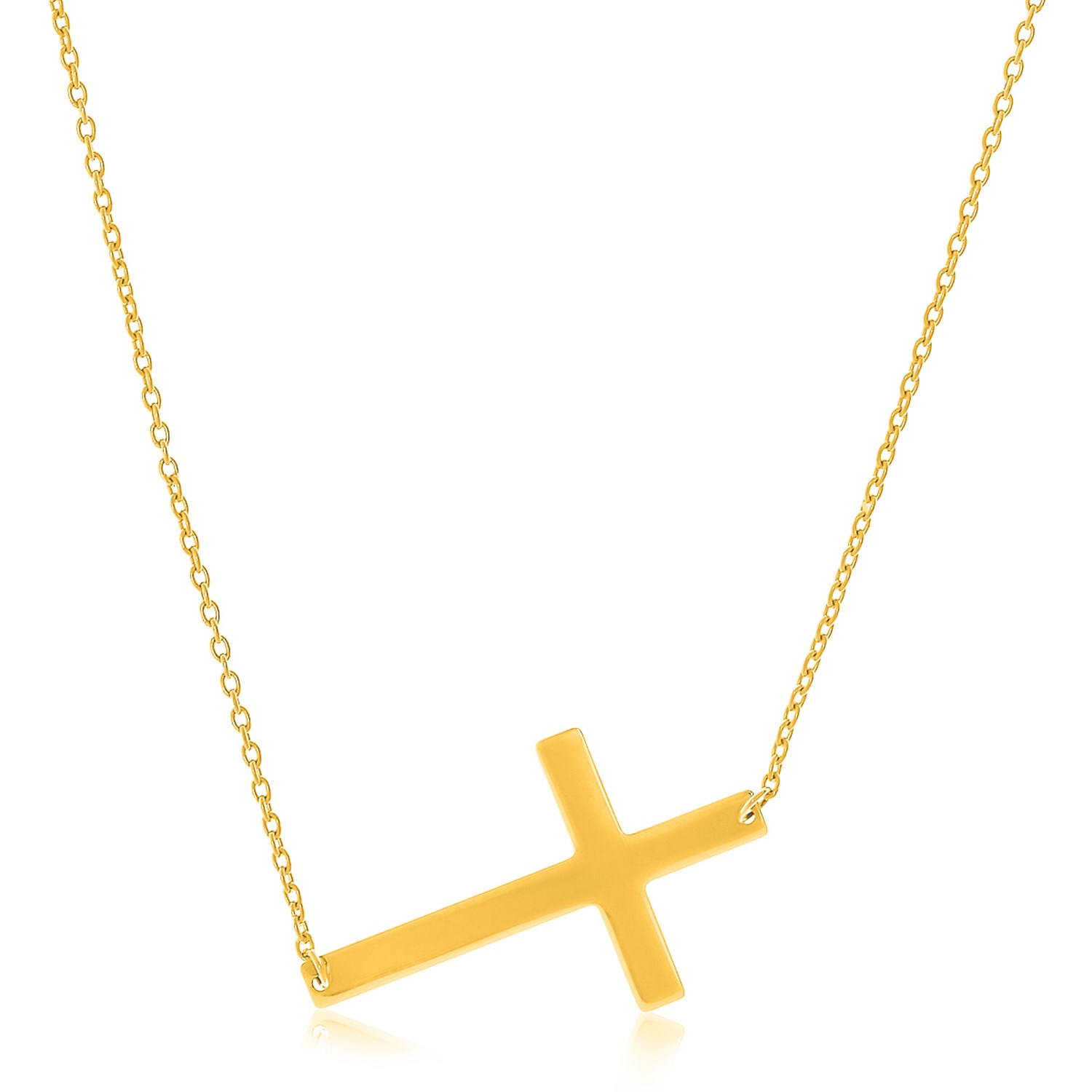 flat crucifix necklace in 14k yellow gold richard cannon