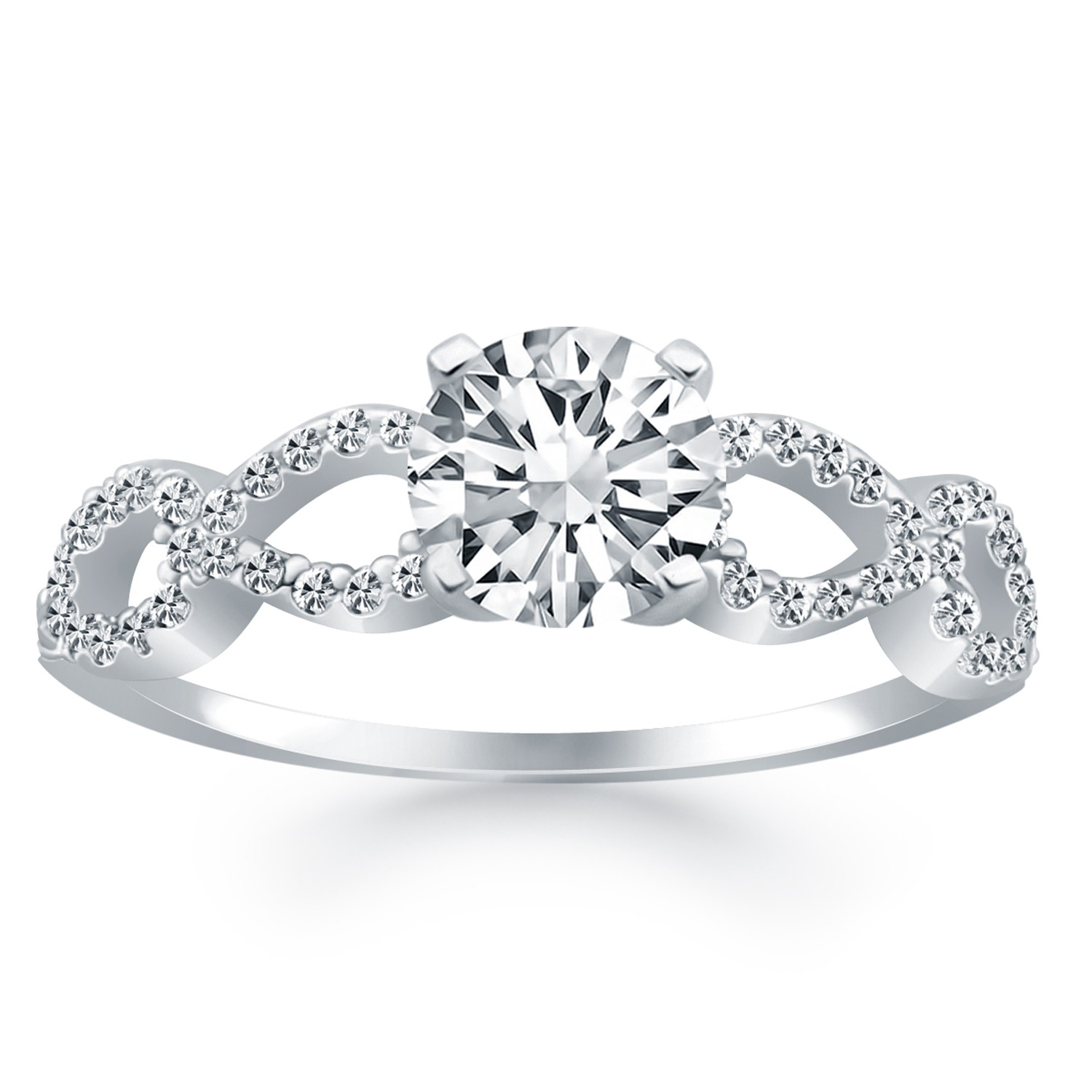 infinity engagement ring in 14k white gold