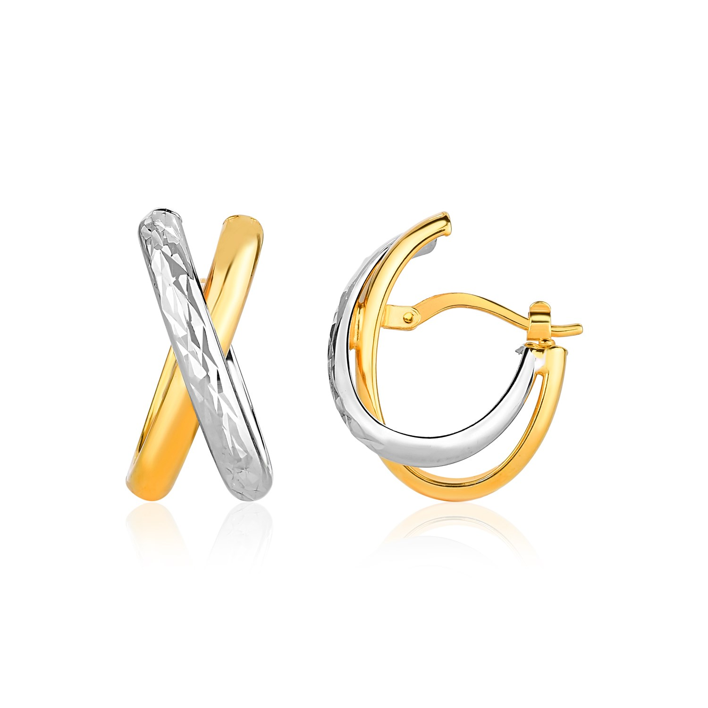14k two tone gold x stye multi textured hoop earrings