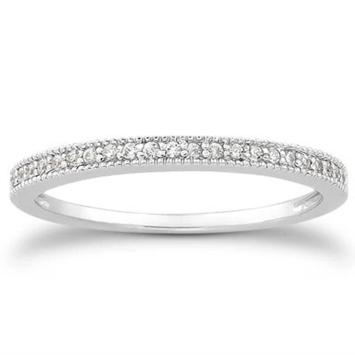 Pavé Bands: Diamond Micro- Pave Diamond Milgrain Wedding Ring Band In