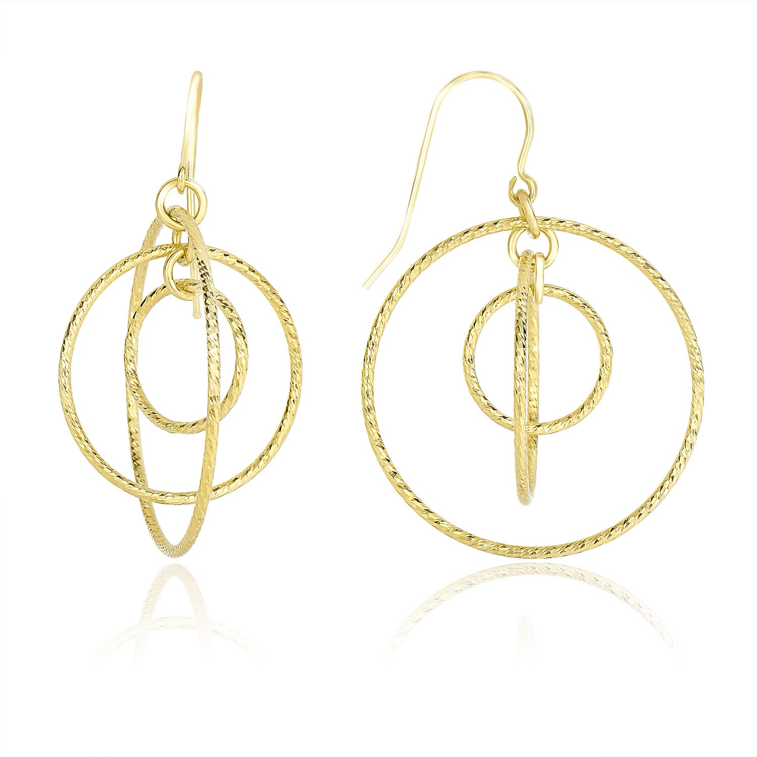Concentric Circle Earrings: Diamond Cut Concentric Circle Style Drop Earrings In 14K