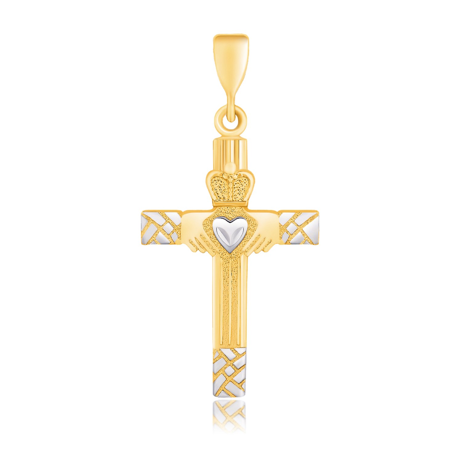 claddagh motif cross pendant in 14k two tone gold