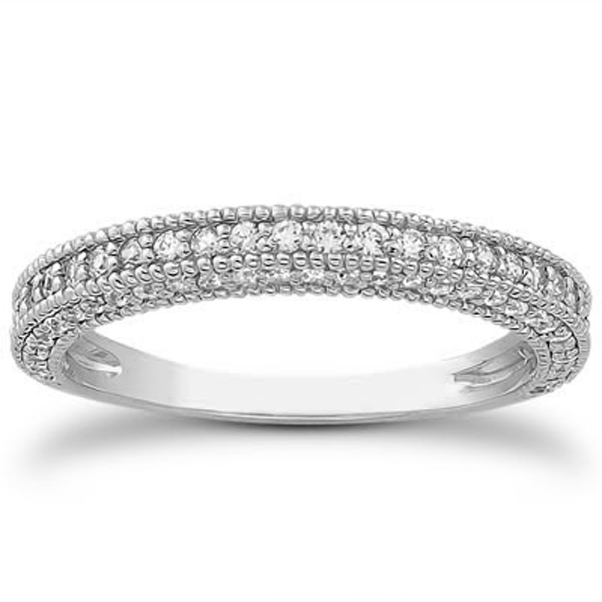 fancy pave milgrain wedding ring band in 14k white