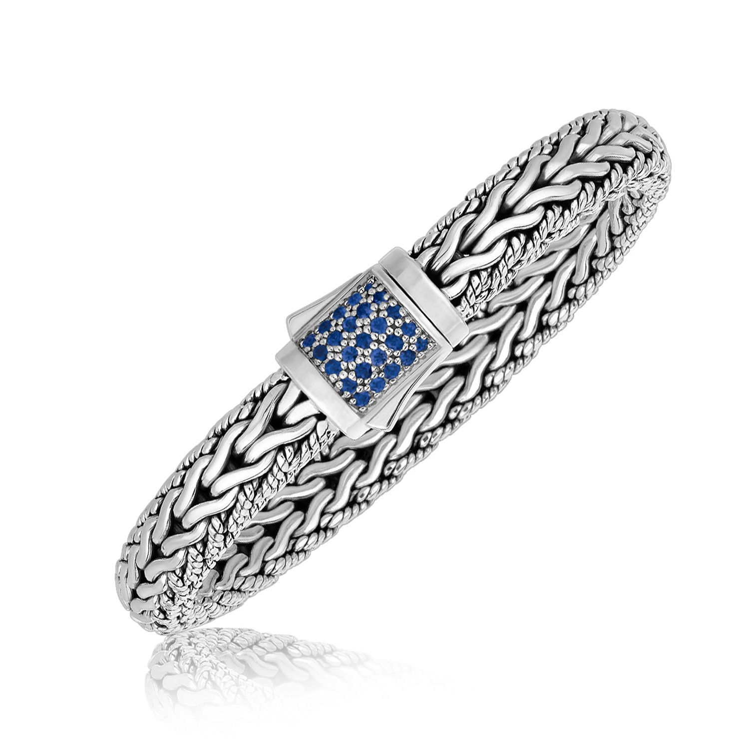 Blue Sapphire Accented Braided Men S Bracelet In Sterling