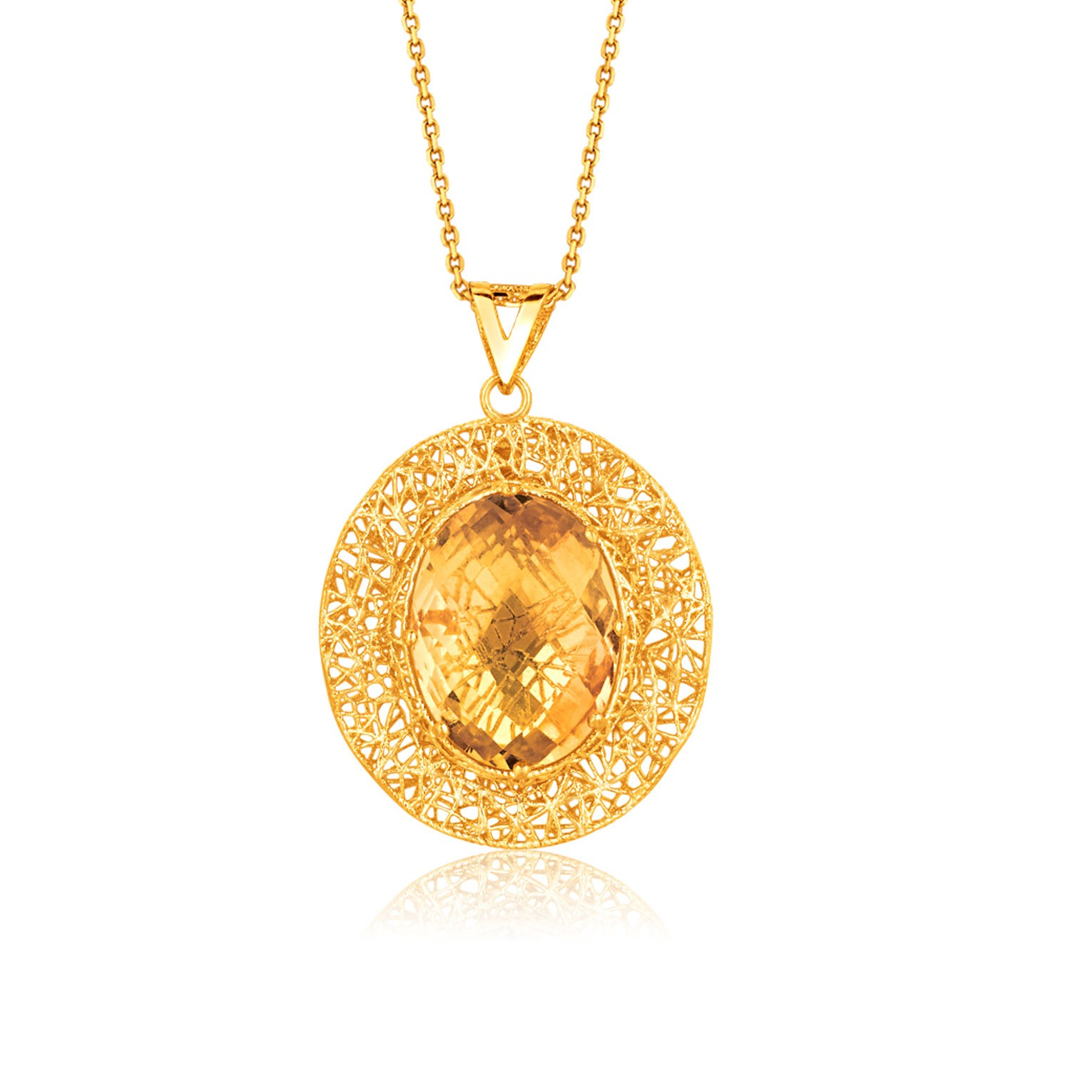 oval citrine lace pendant in 14k yellow gold richard
