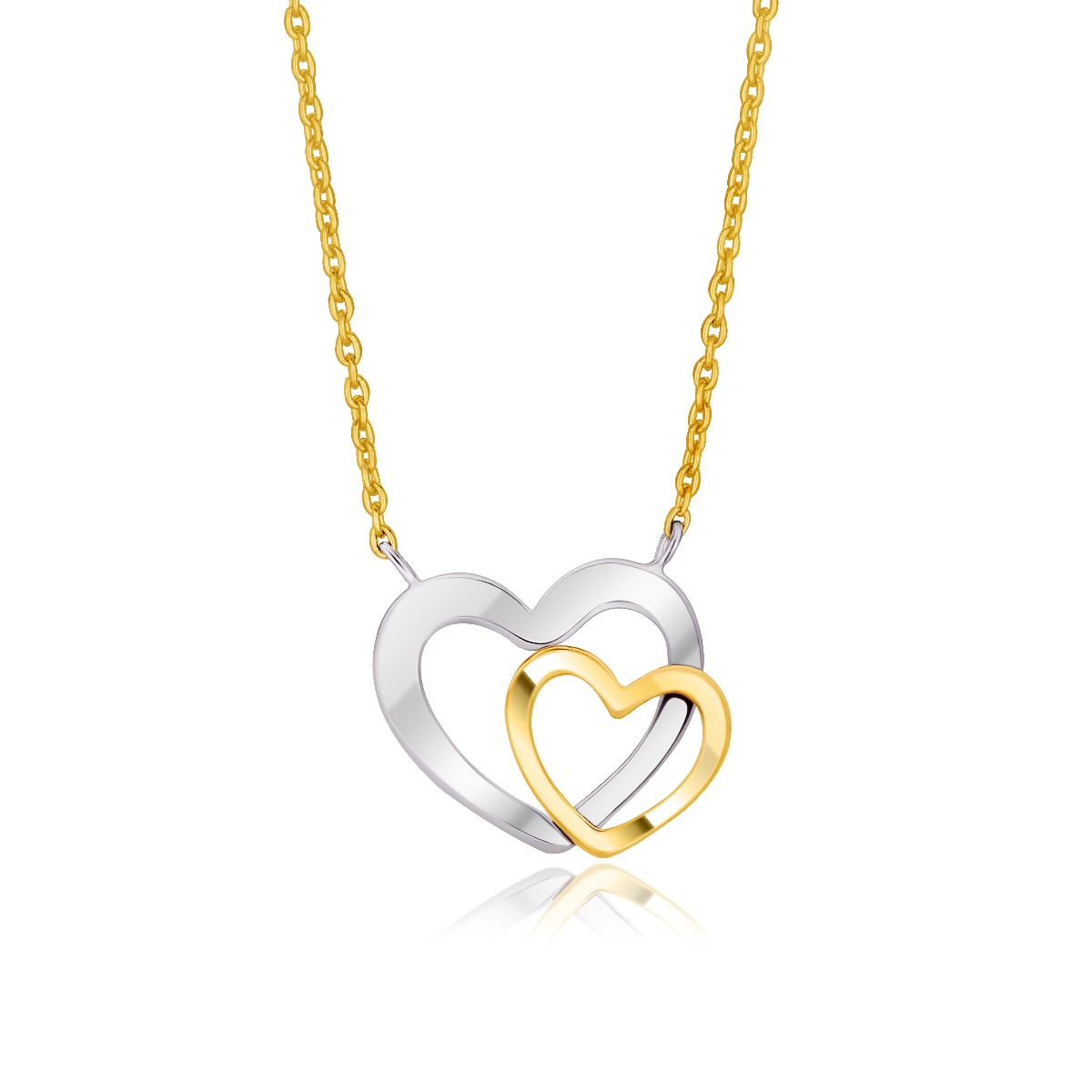 double heart necklace in 14k two tone gold richard. Black Bedroom Furniture Sets. Home Design Ideas