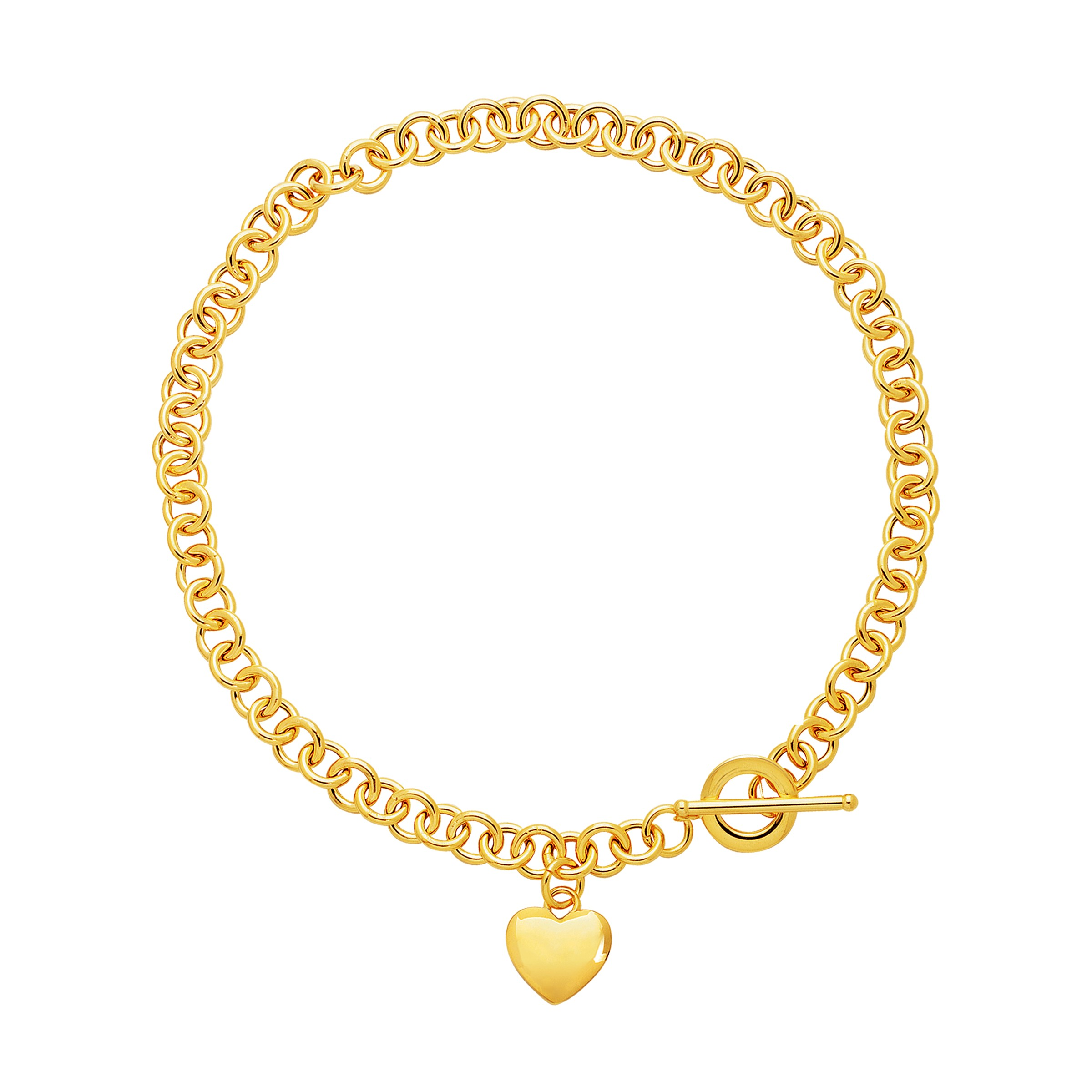 puffed toggle necklace in 14k yellow gold richard