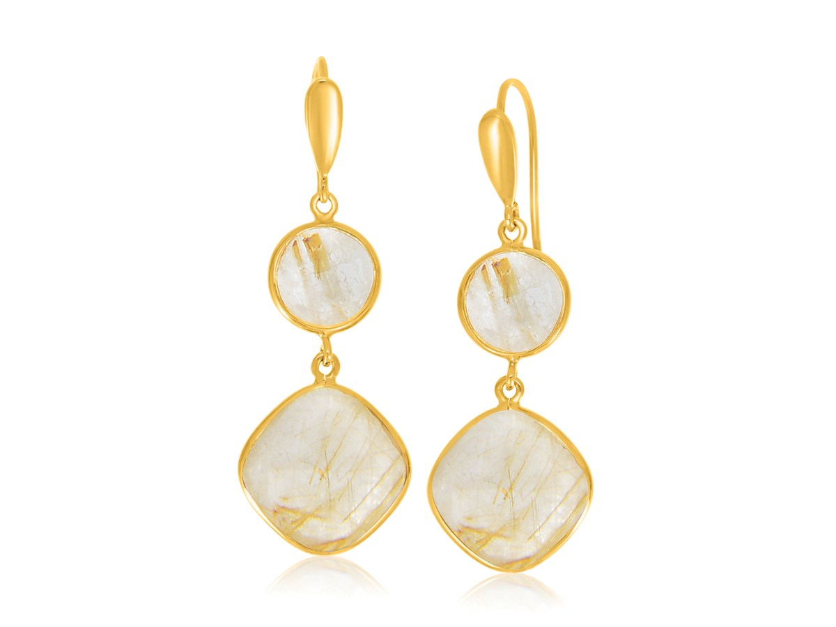 Golden rutilated quartz dangling earrings in yellow gold for Golden rutilated quartz jewelry