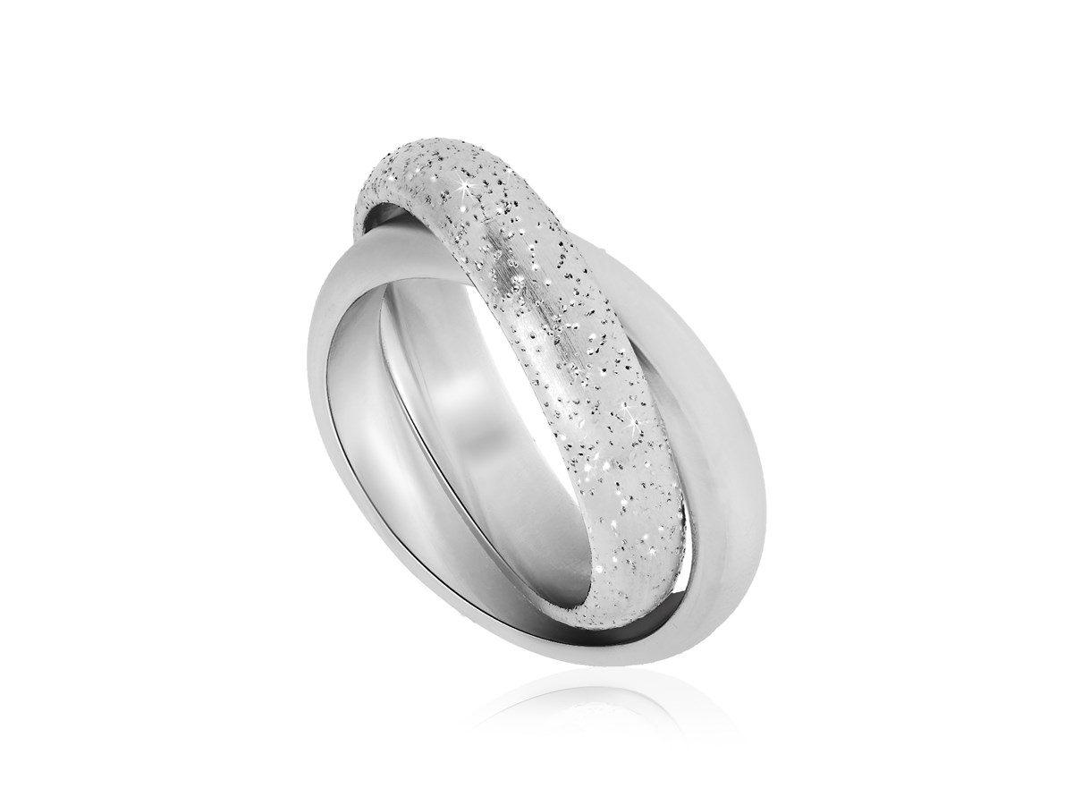 Entwined Loop Diamond Dust Ring In Sterling Silver