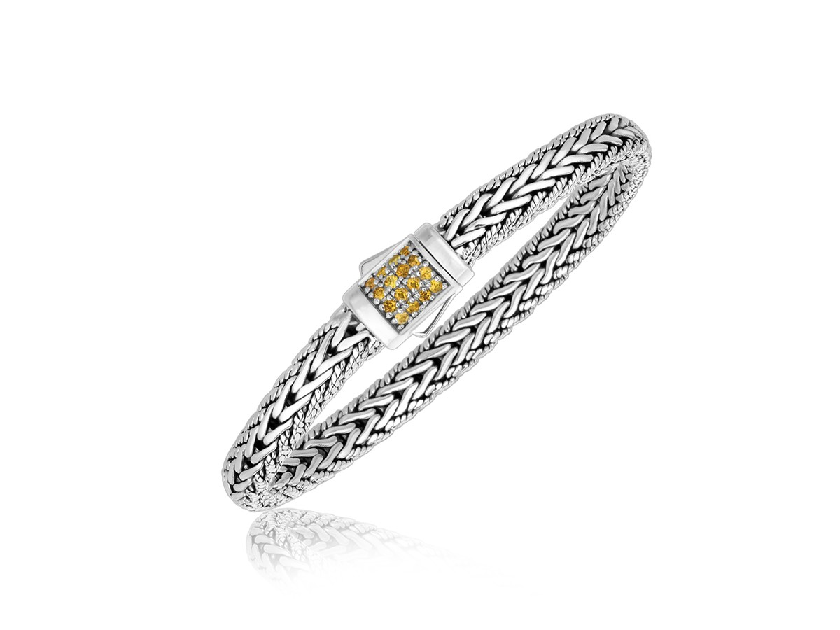 Yellow Shire Embellished Men S Braided Look Bracelet In Sterling Silver