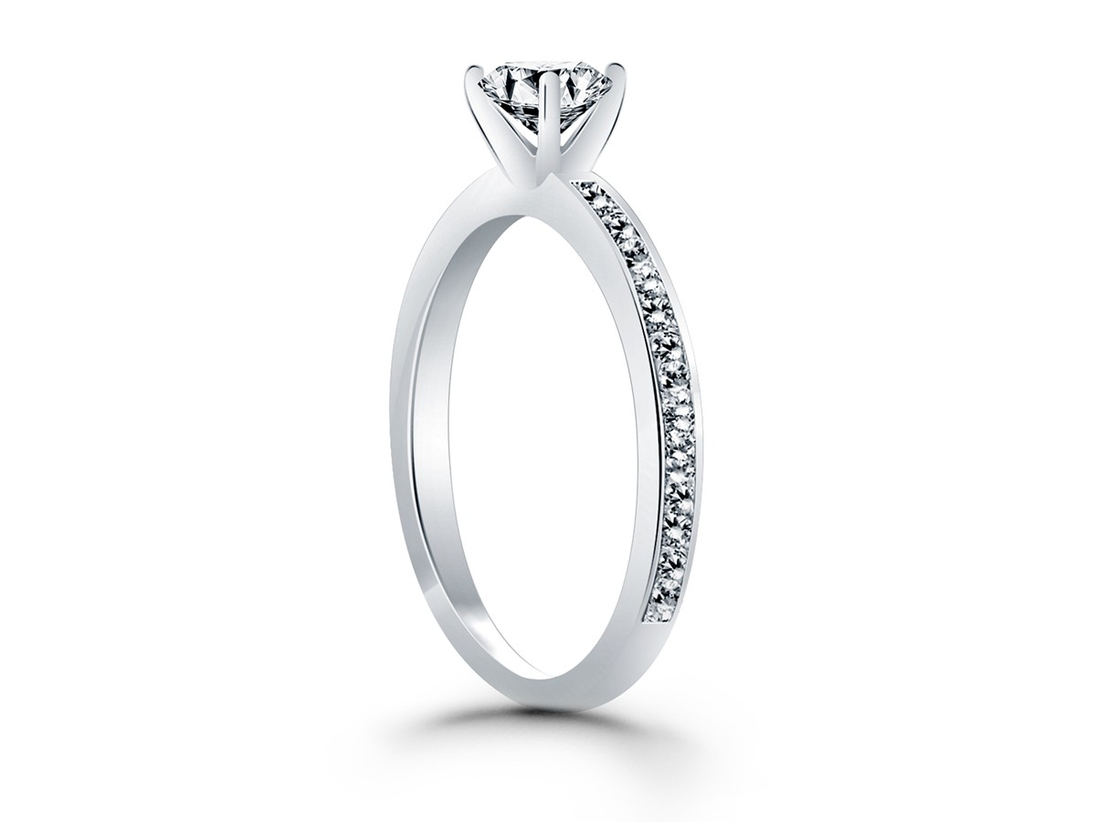 classic pave band engagement ring in 14k white