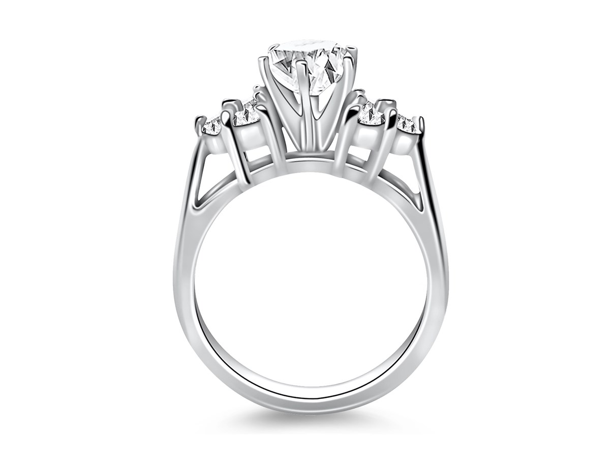 Cathedral Engagement Ring Mounting with Side Diamond Clusters in 14K