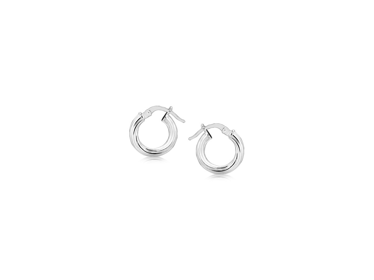 small twisted motif hoop earrings in sterling silver. Black Bedroom Furniture Sets. Home Design Ideas