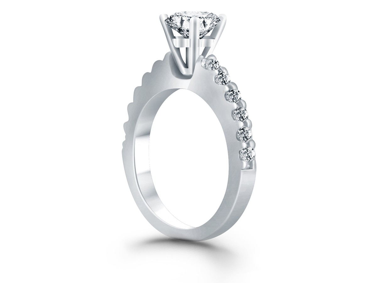 Diamond Micro Prong Cathedral Engagement Ring In 14k White