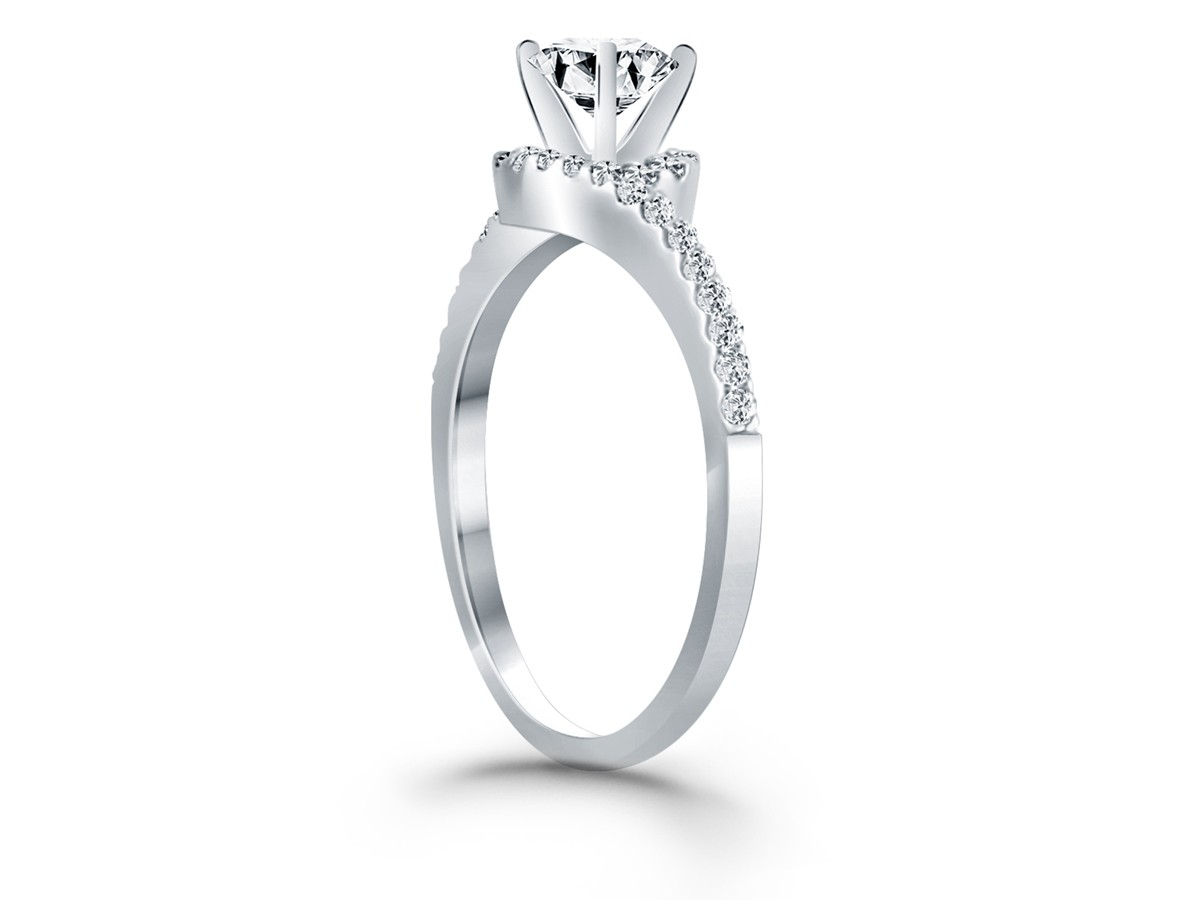 Bypass Swirl Diamond Halo Engagement Ring In 14k White