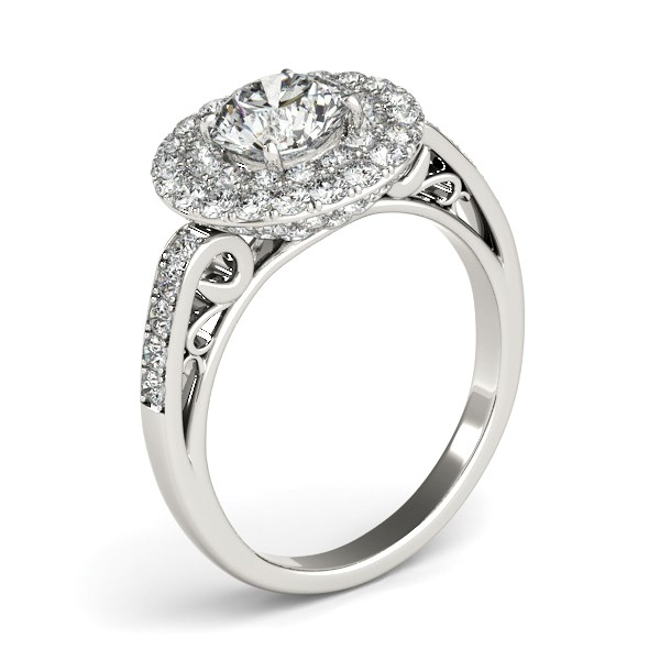 Two Row Border Round Diamond Engagement Ring In 14k White
