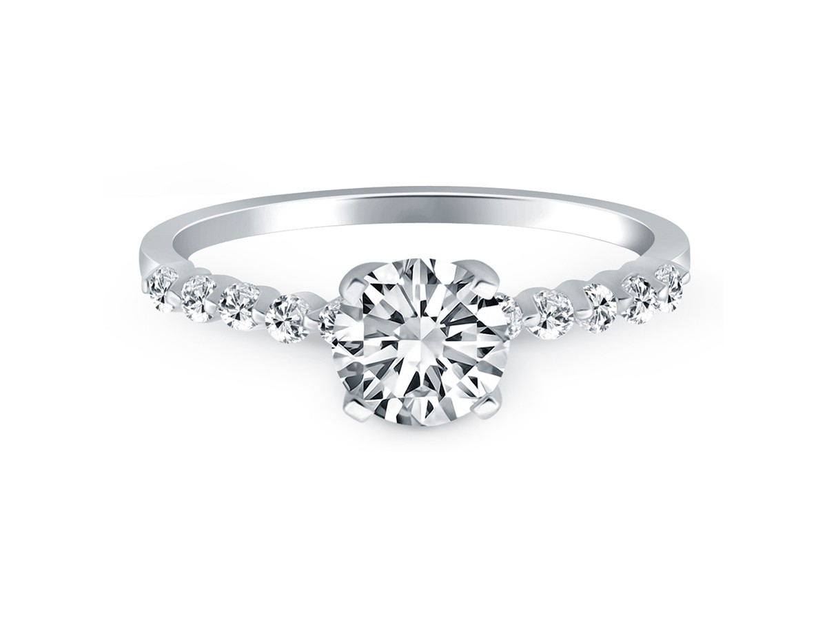 ... Diamond Engagement Ring Mounting with Shared Prong Diamond Accents in  14K White Gold ...