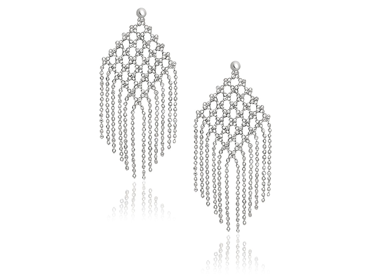 Beaded Chain Mesh Earrings In 14k White Gold Richard