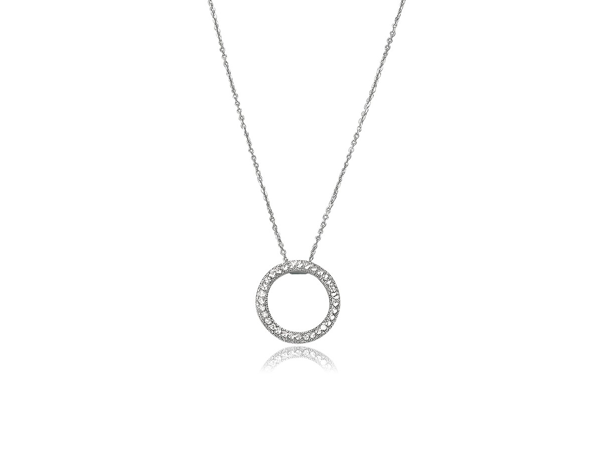 Sparkle Texture Open Circle Of Life Necklace In 14k White