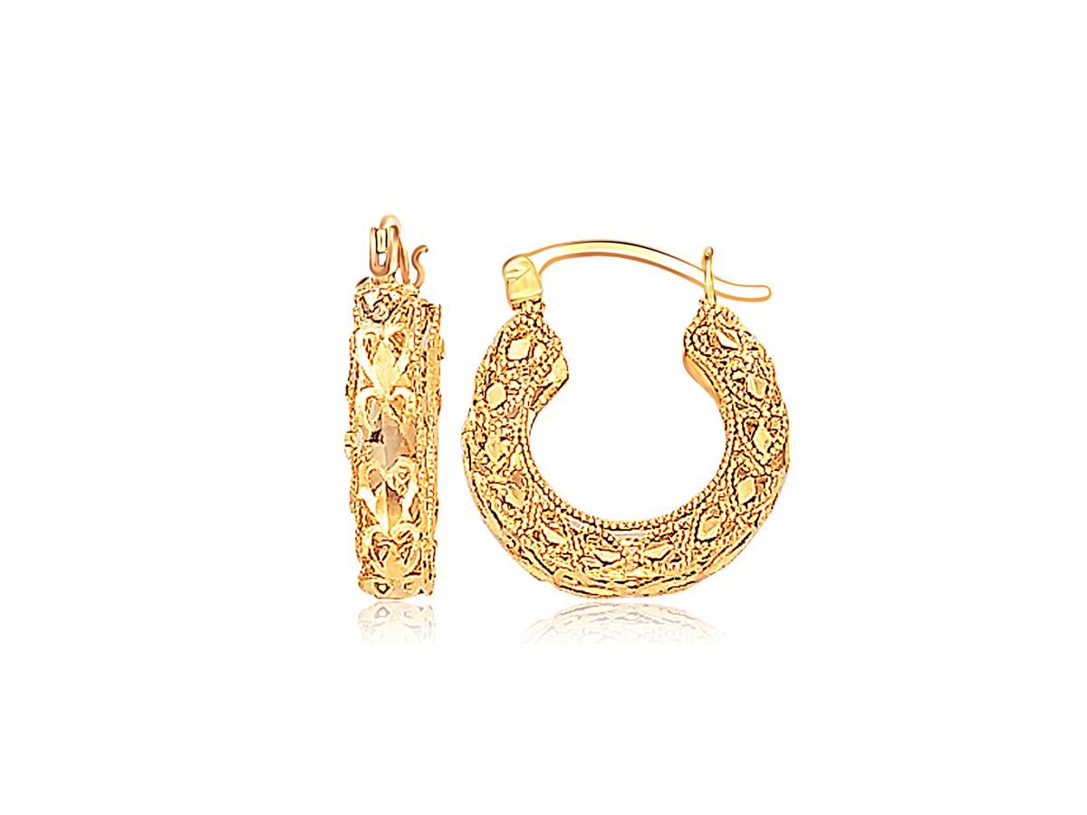 Fancy Heart Wide Small Hoop Earrings In 14k Yellow Gold