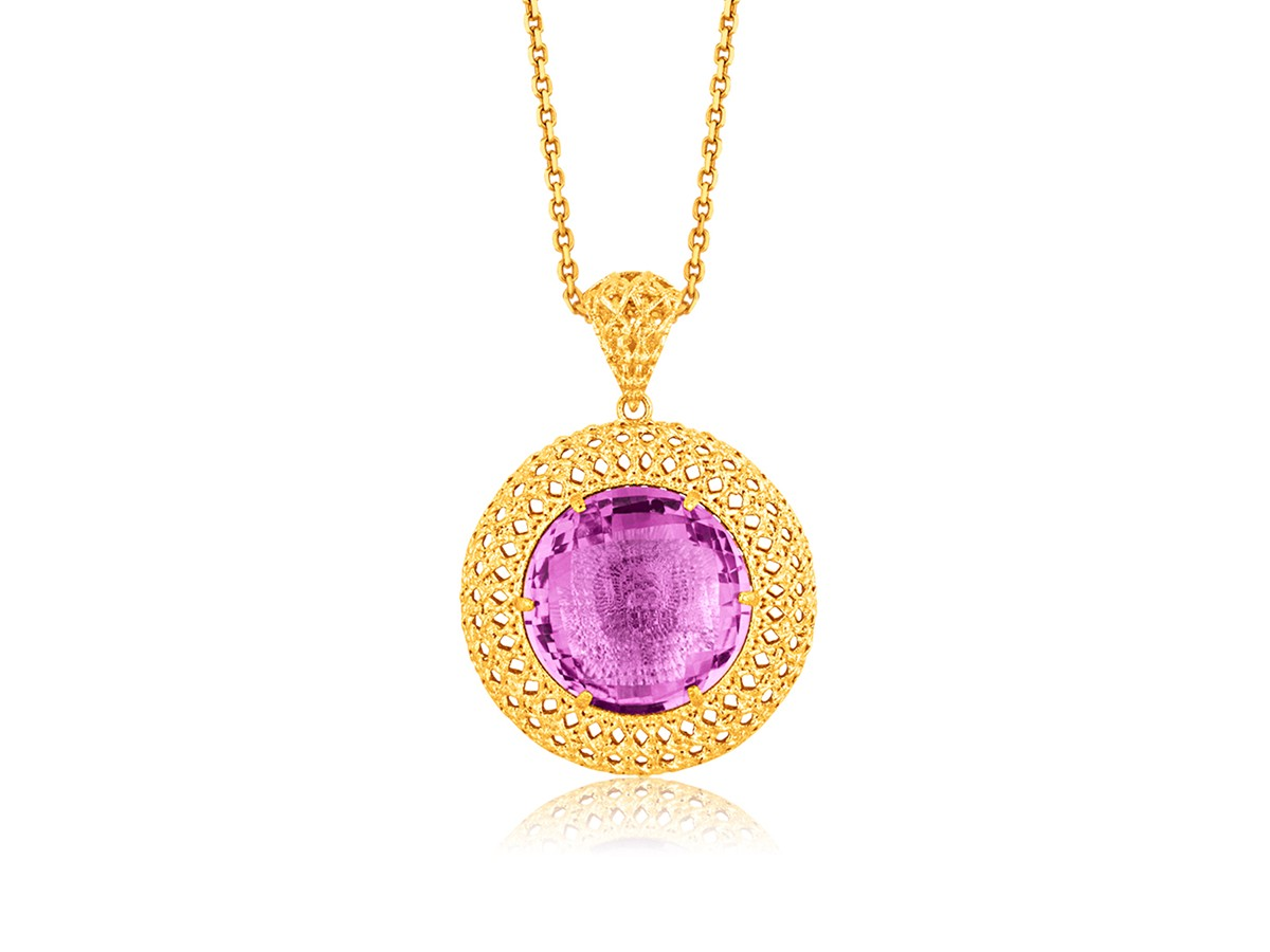 Round Amethyst Crochet Pendant In 14k Yellow Gold