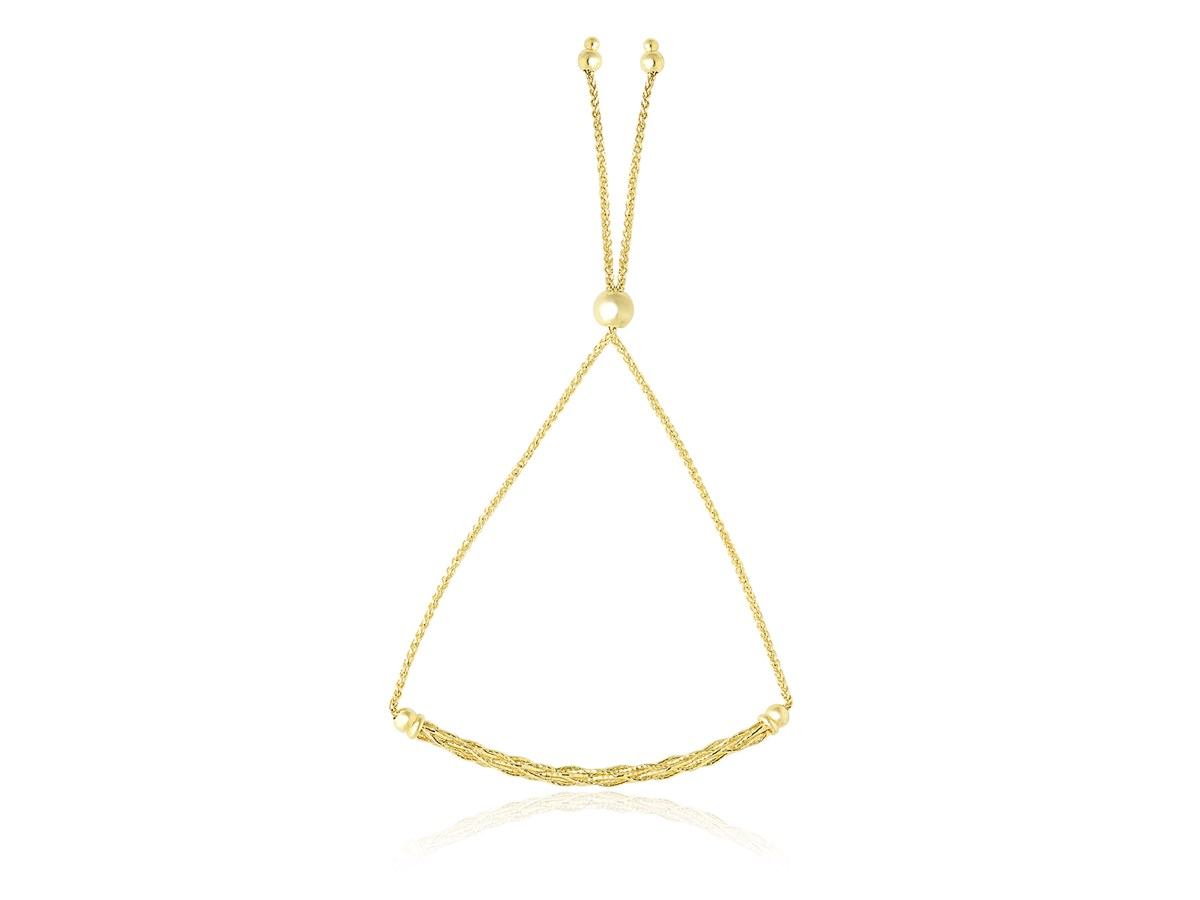 14k Yellow Gold Adjustable Lariat Bracelet With Curved Bar