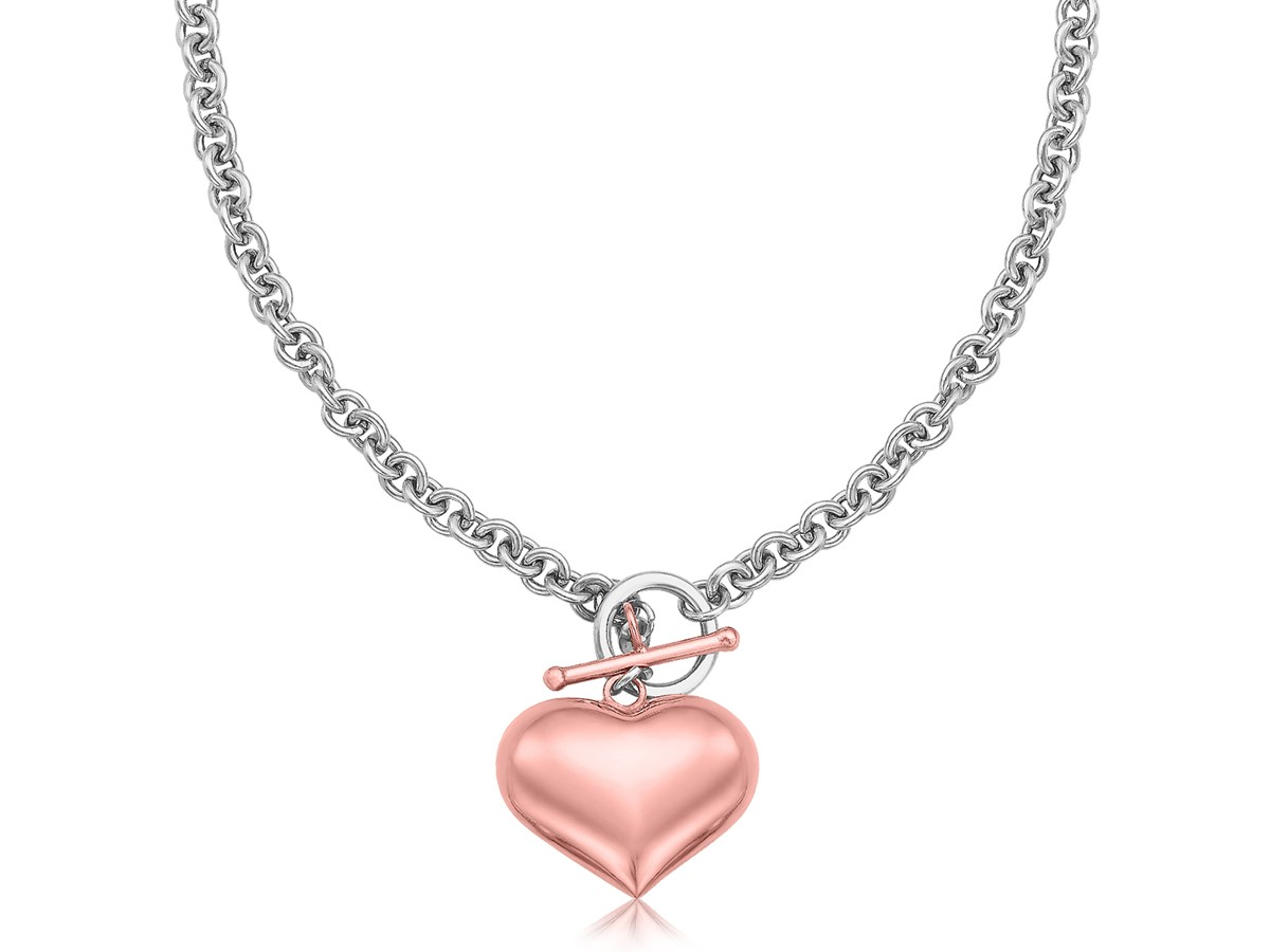 Rose Gold Plated Puff Heart Rolo Chain Necklace In